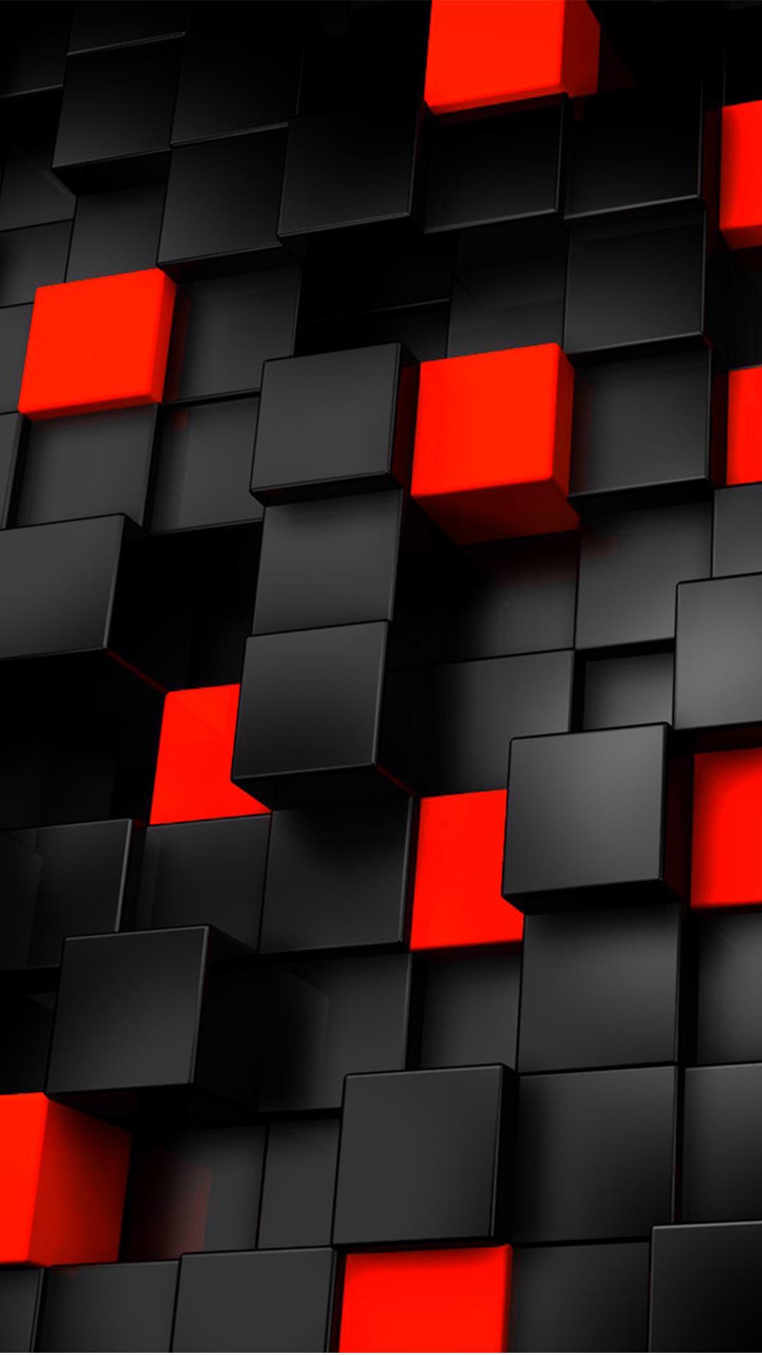Scatola tridimensionale di base stereo rosso e nero