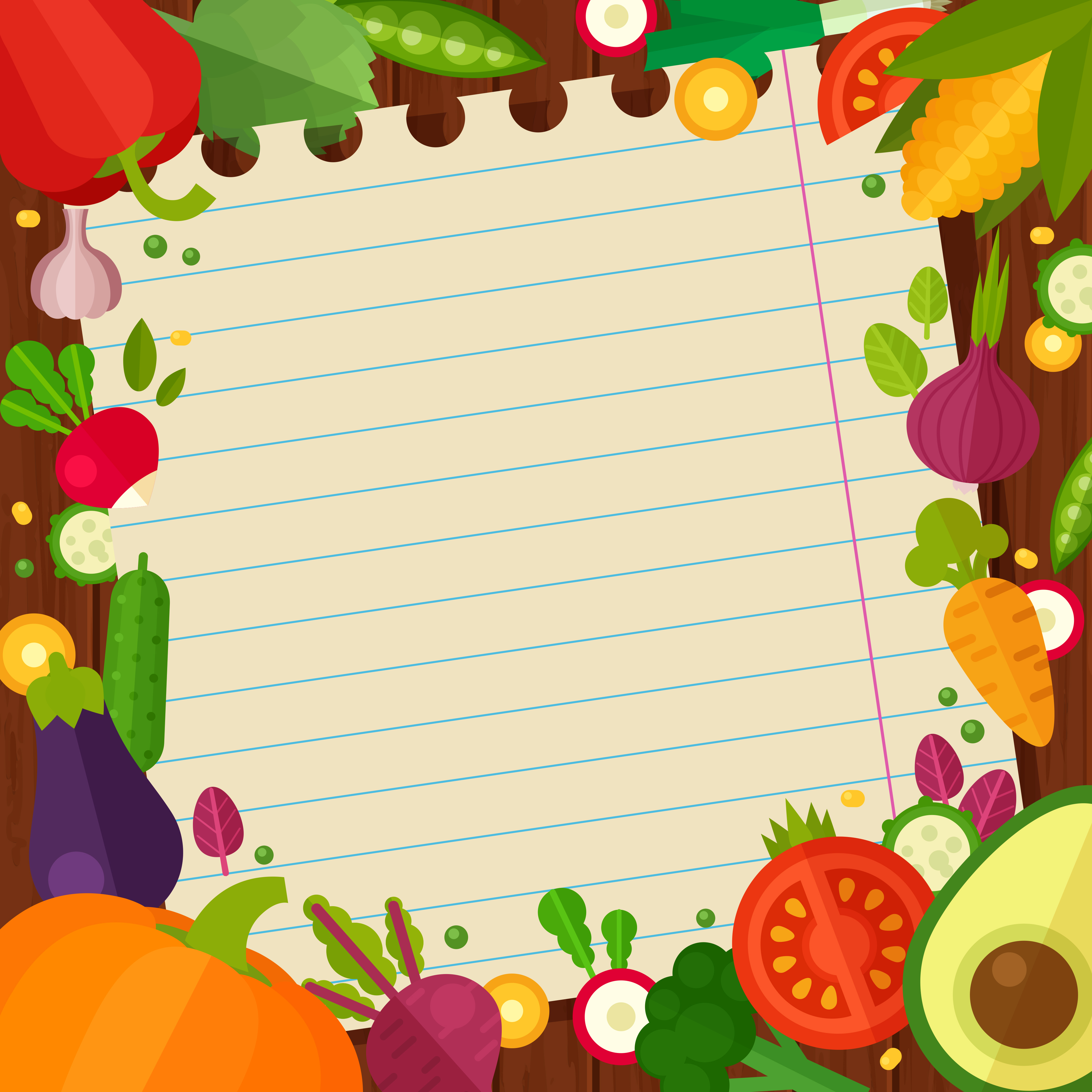 rich fruits and vegetables vector background ink