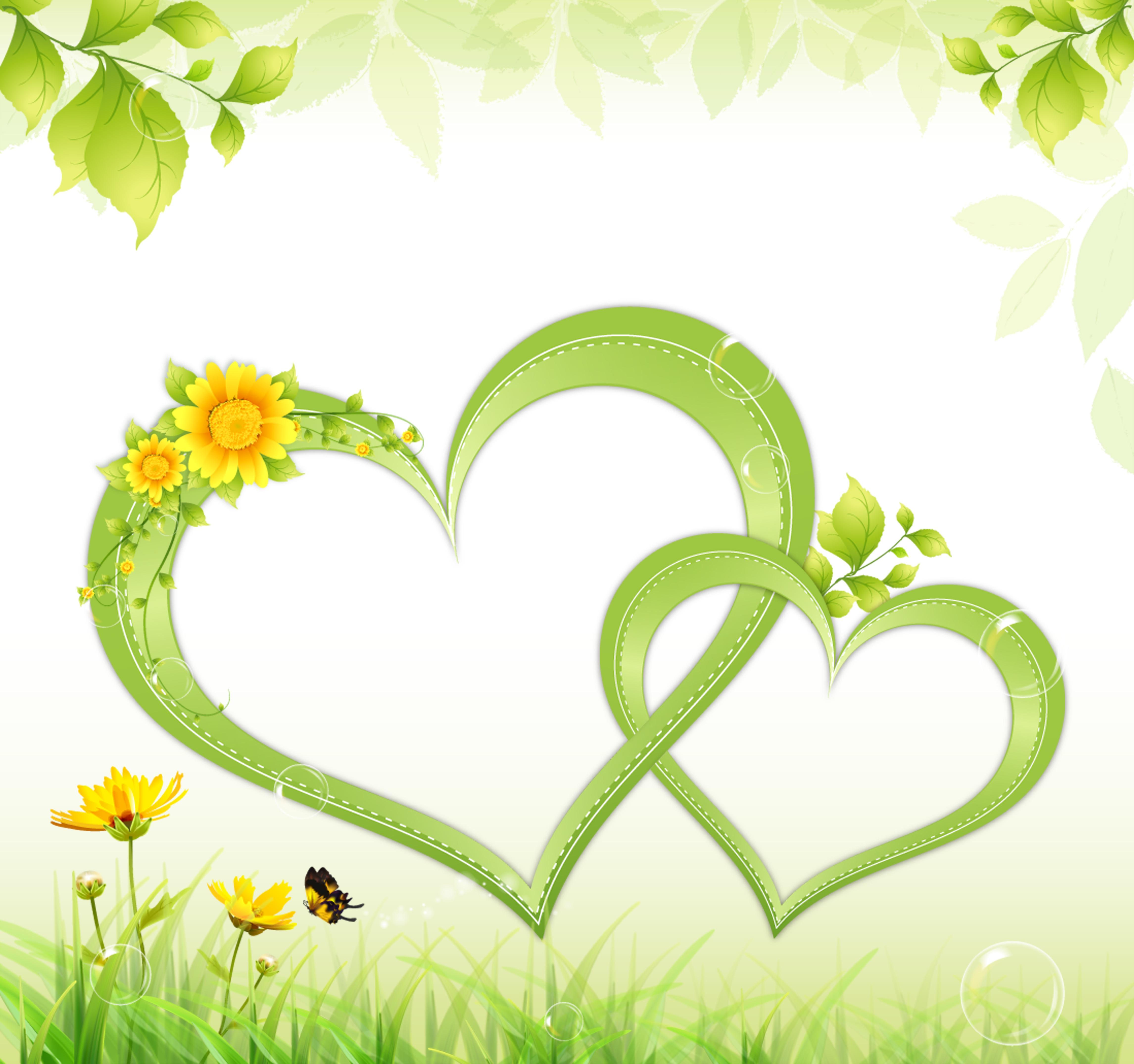 dessin de la bordure de fond vert en forme de coeur vert