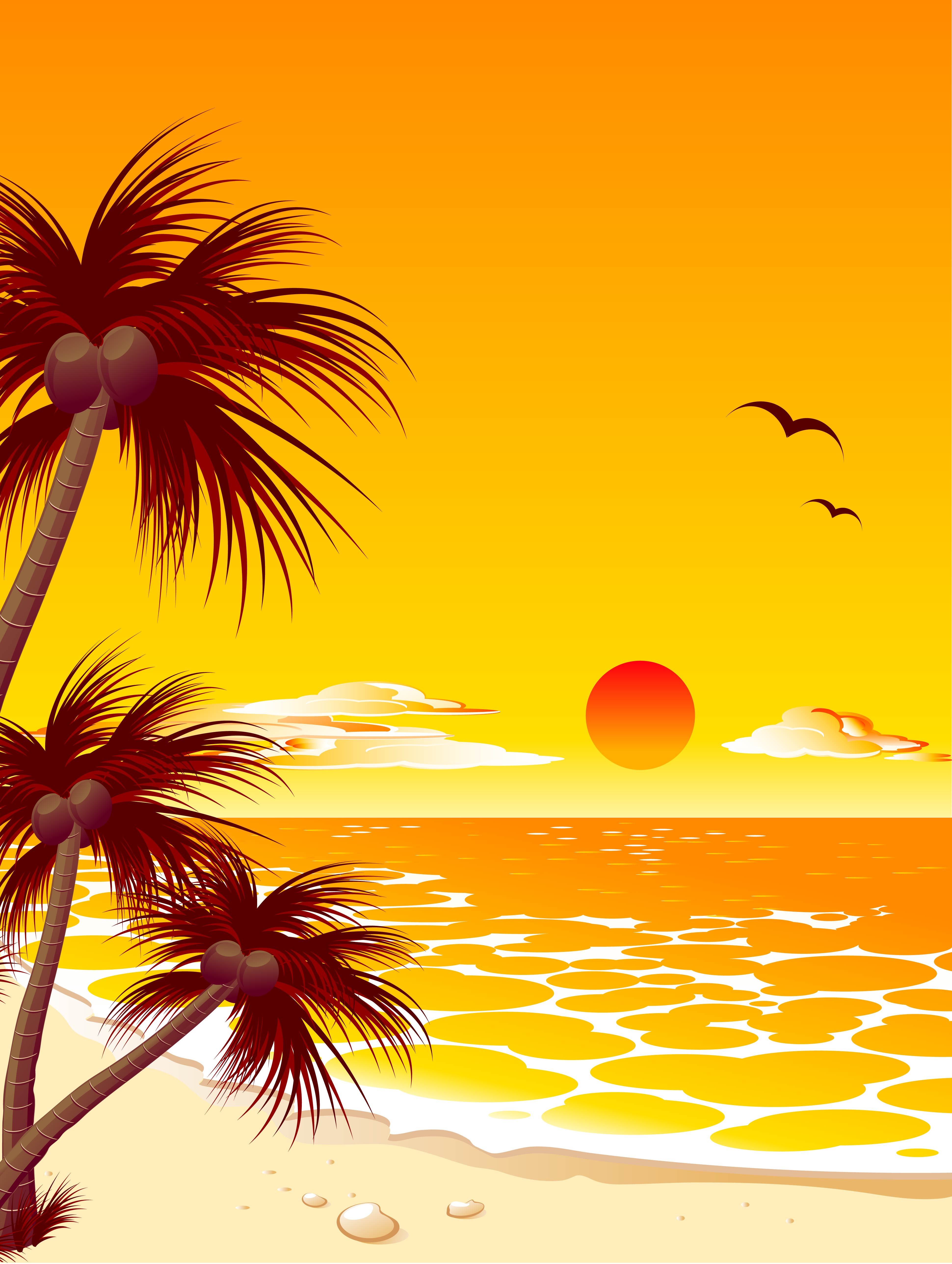 palm beach sunset twilight vector holiday background