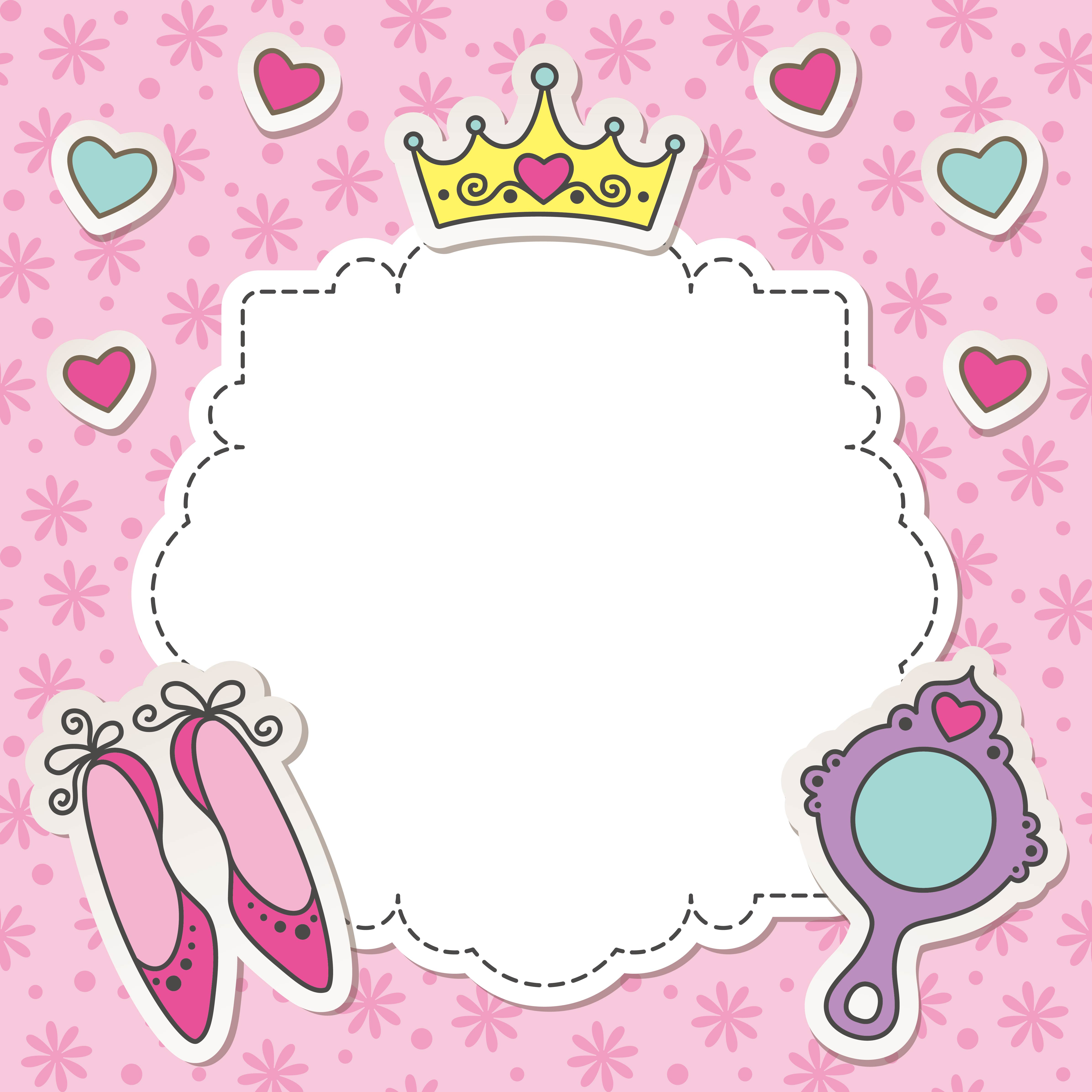 vector pink princess girl birthday background  pink