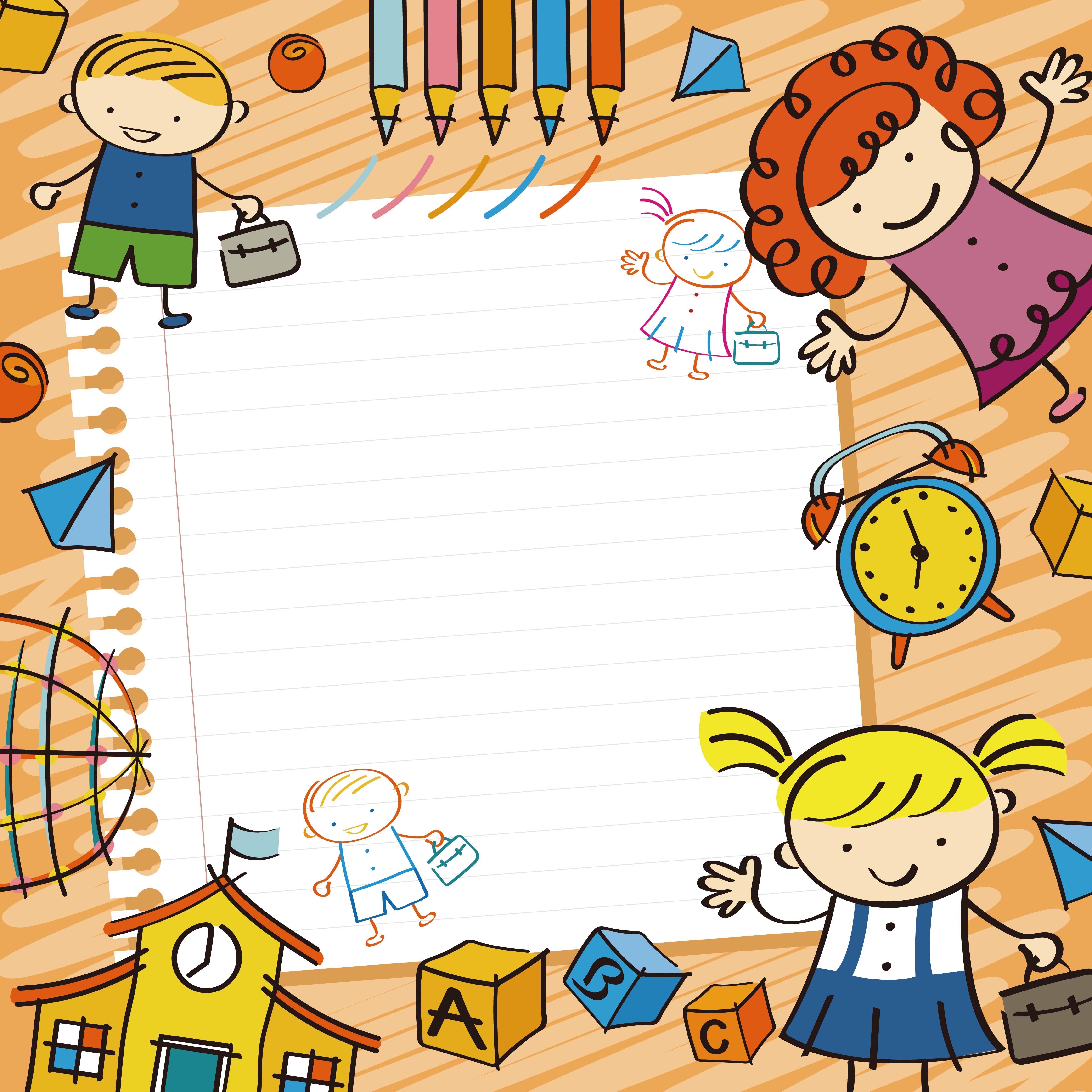 Kinder Garden: Vector Cartoon Background Early Childhood Education