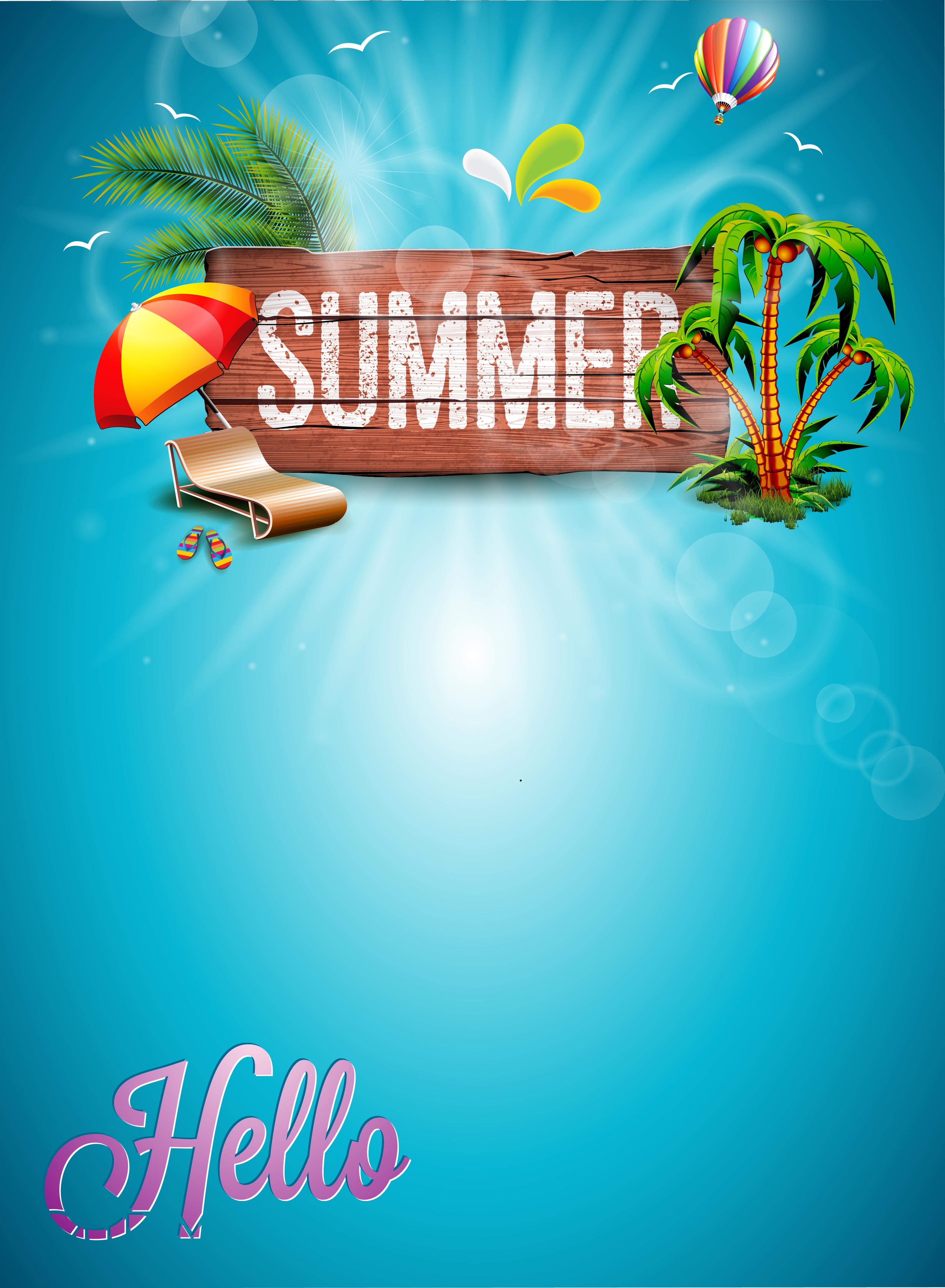 la madera de verano fondo titulo del cartel azul verano