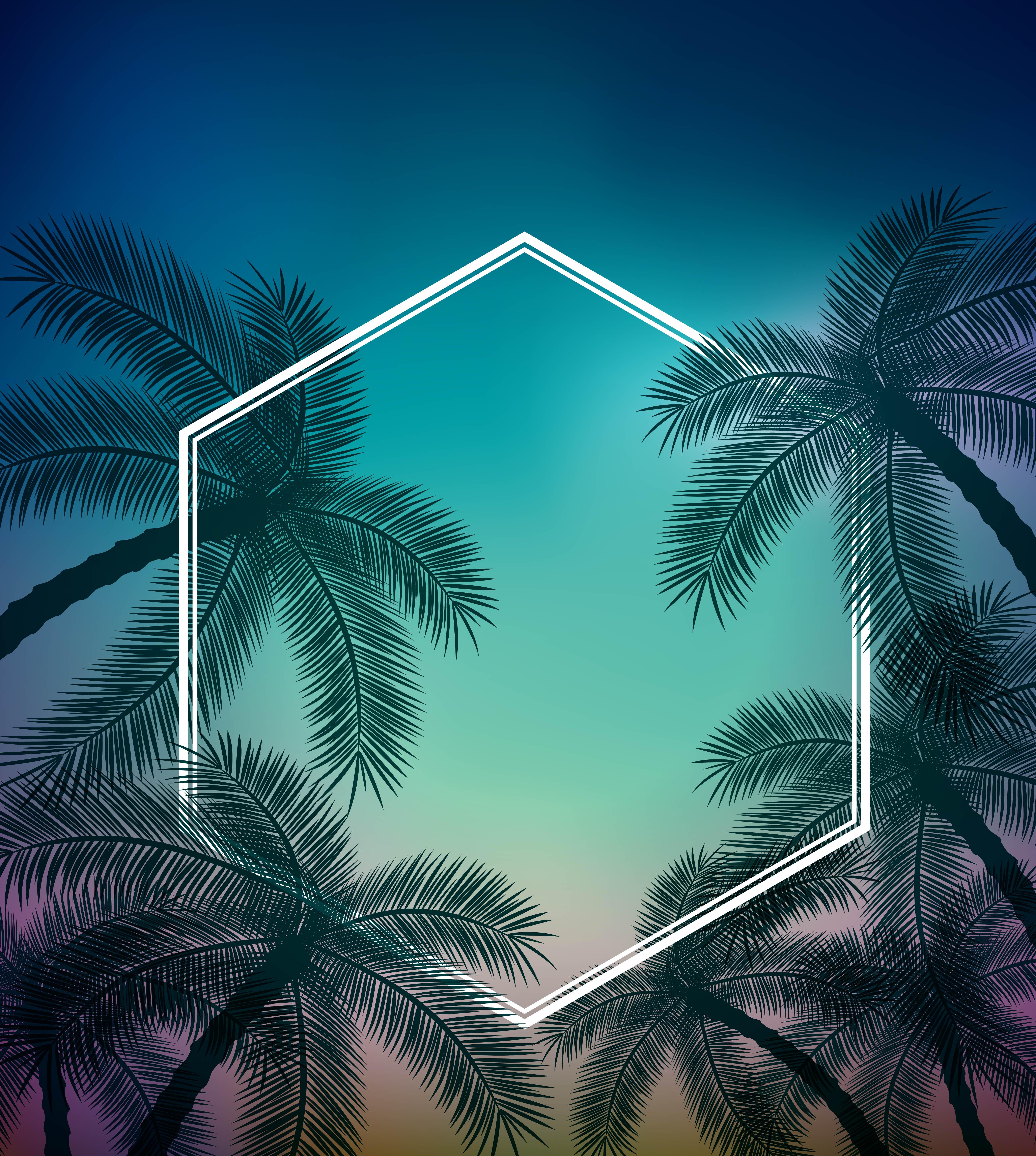Vector Summer Fresh Coconut Background, Bluegreen, Gradual