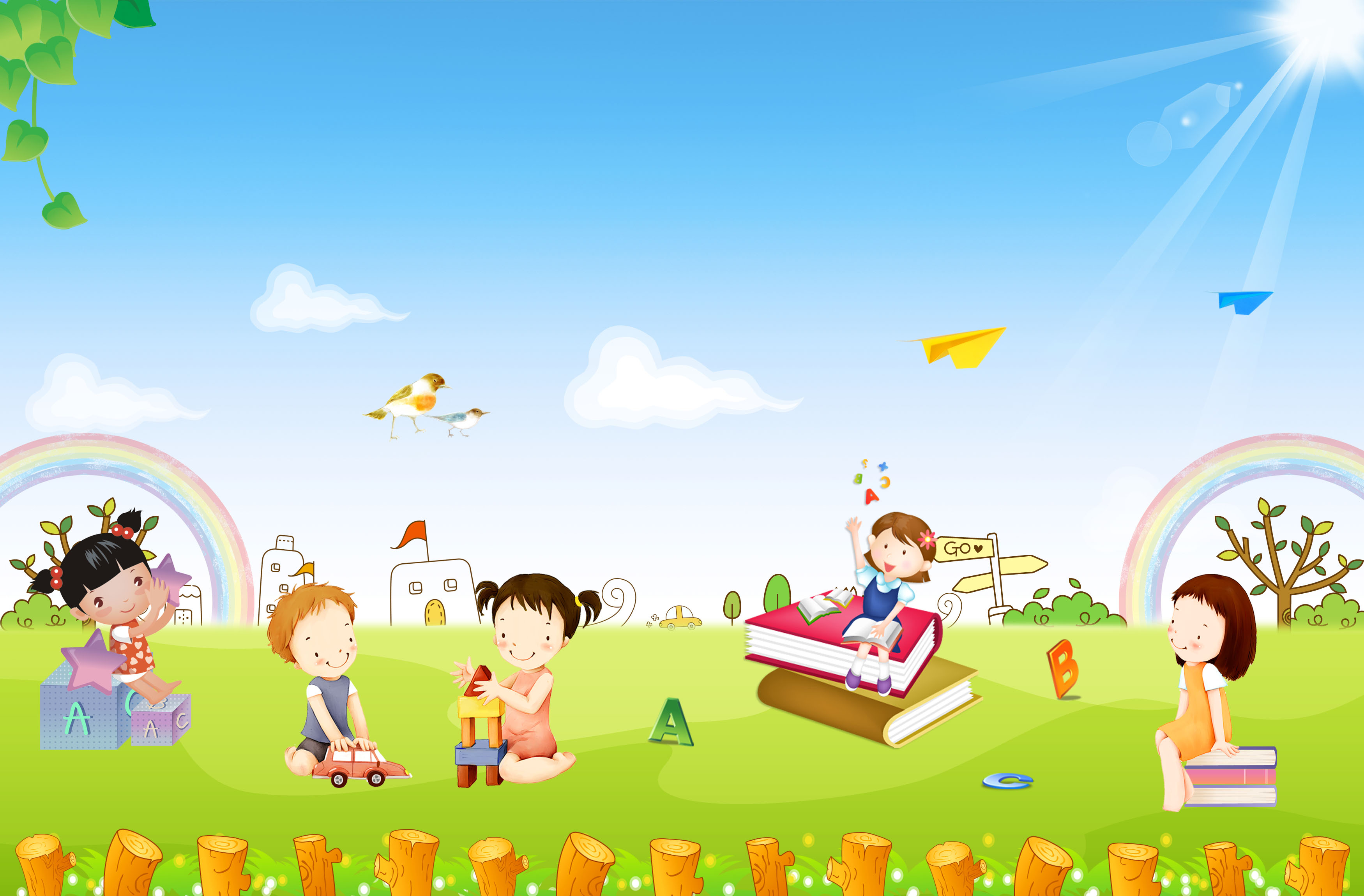 Cartone animato sky paesaggio arte sfondo holiday
