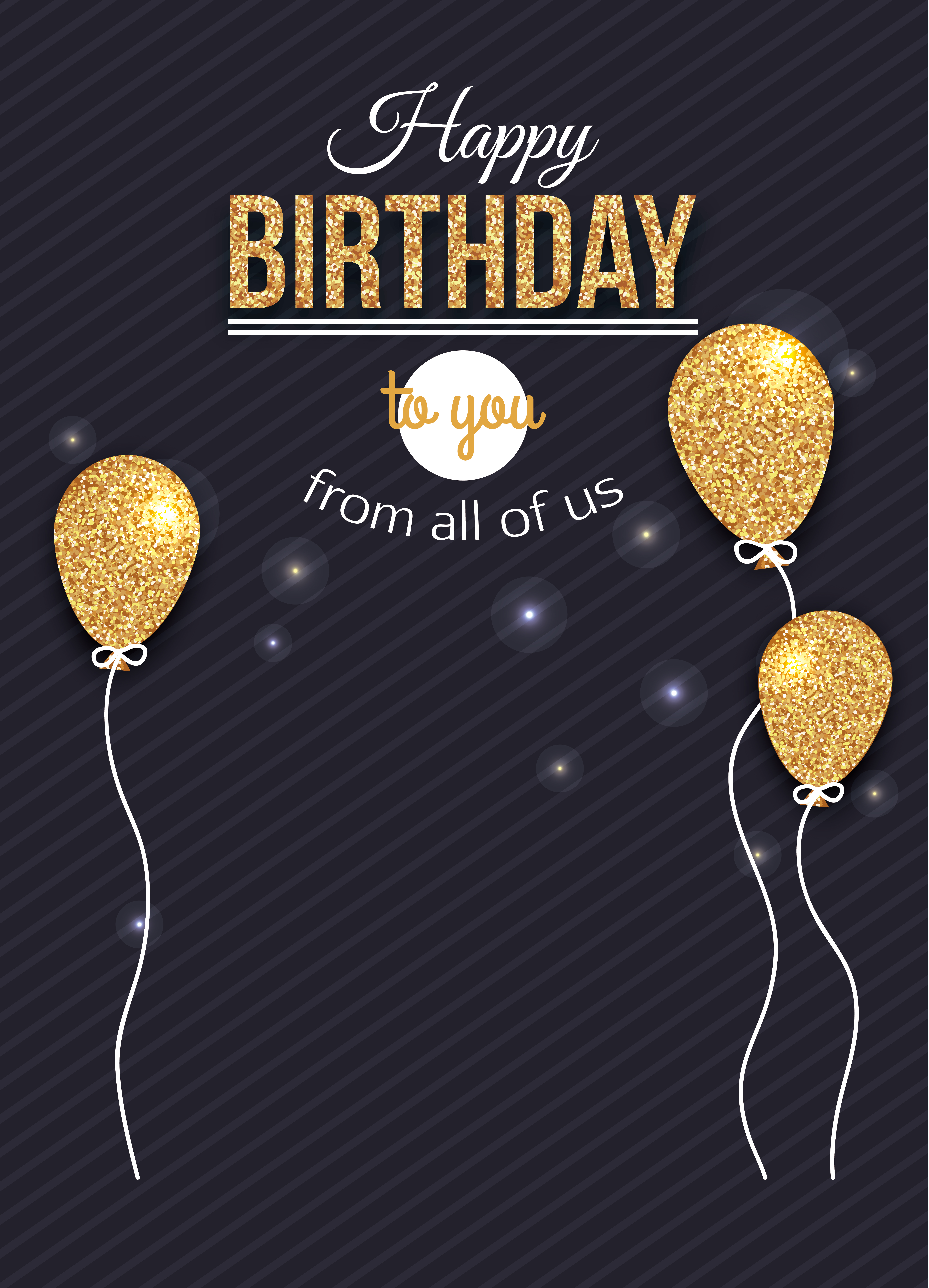 happy birthday balloons golden poster background material