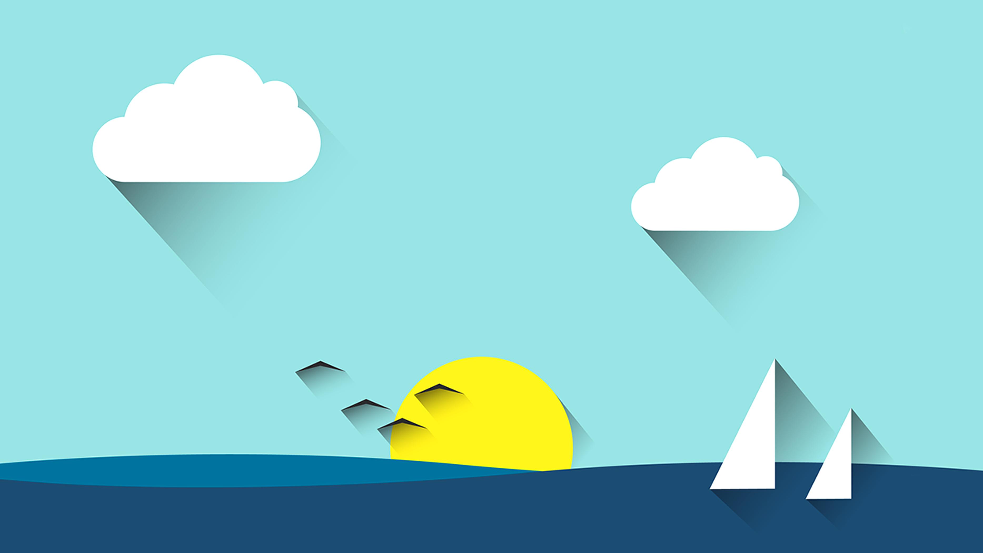 Cartone animato il cielo sullo sfondo mare in barca a