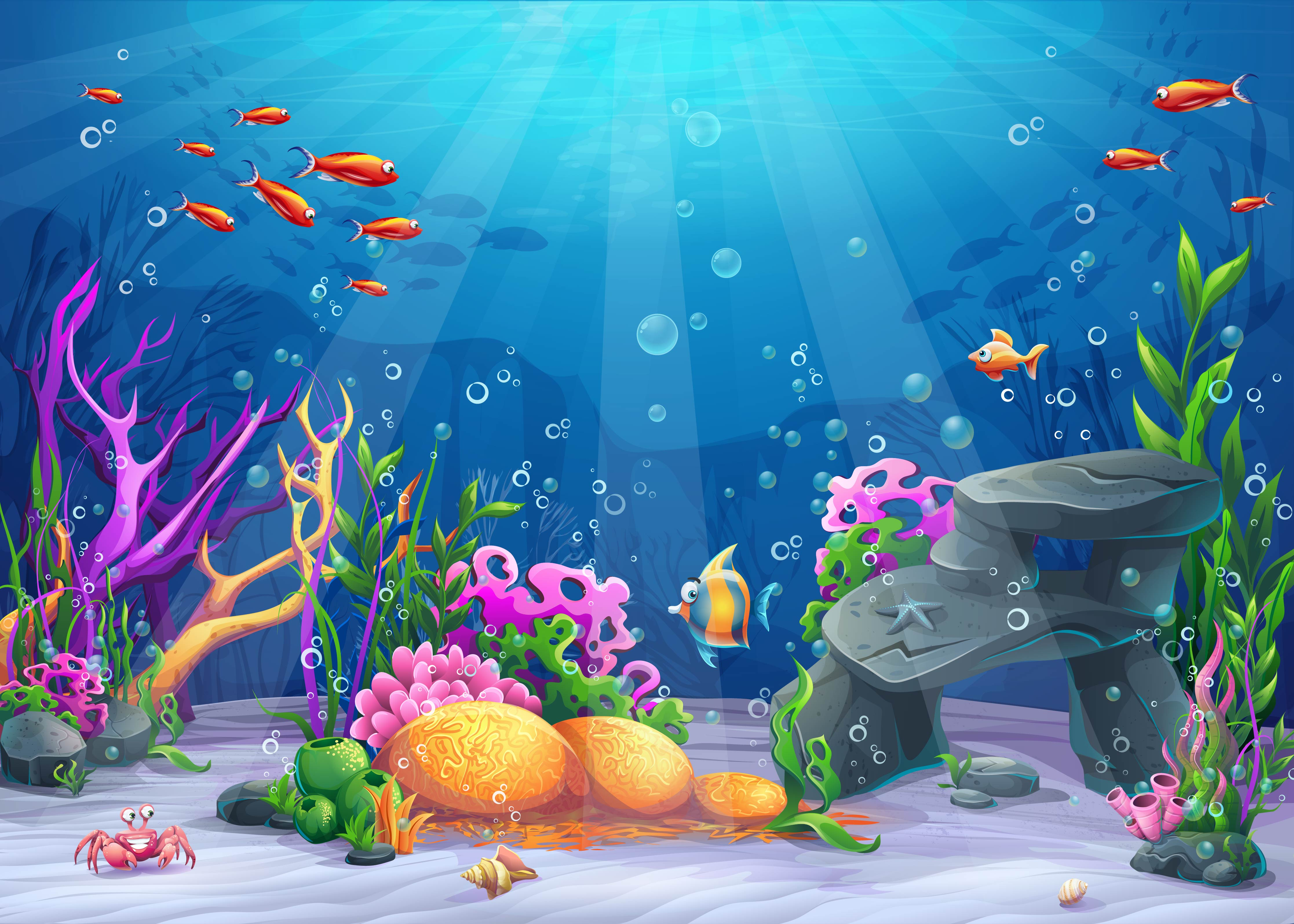 Vector Cartoon Ocean Underwater World Background Material ...