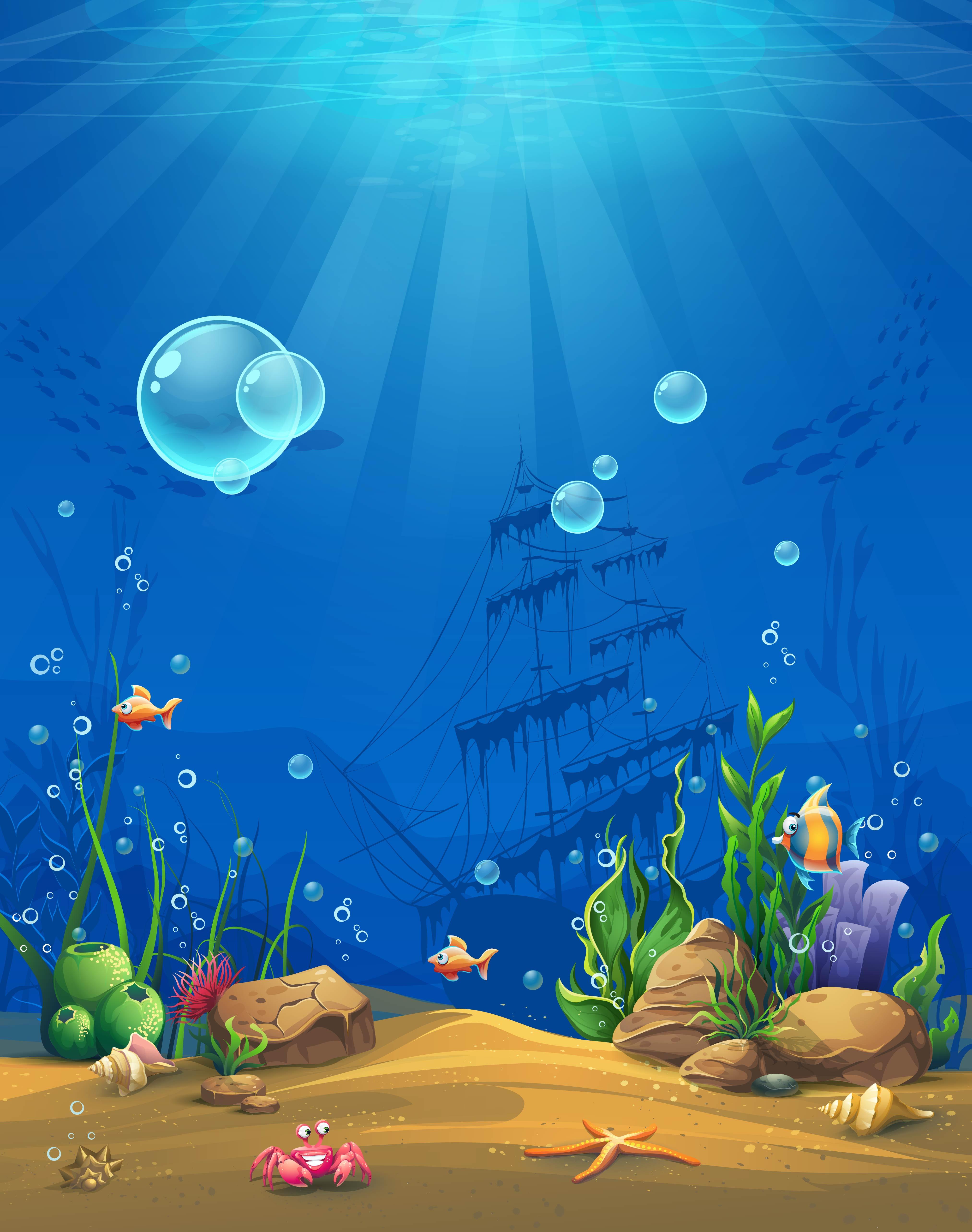 Vector Cartoon Underwater World Childrens Paintings ...