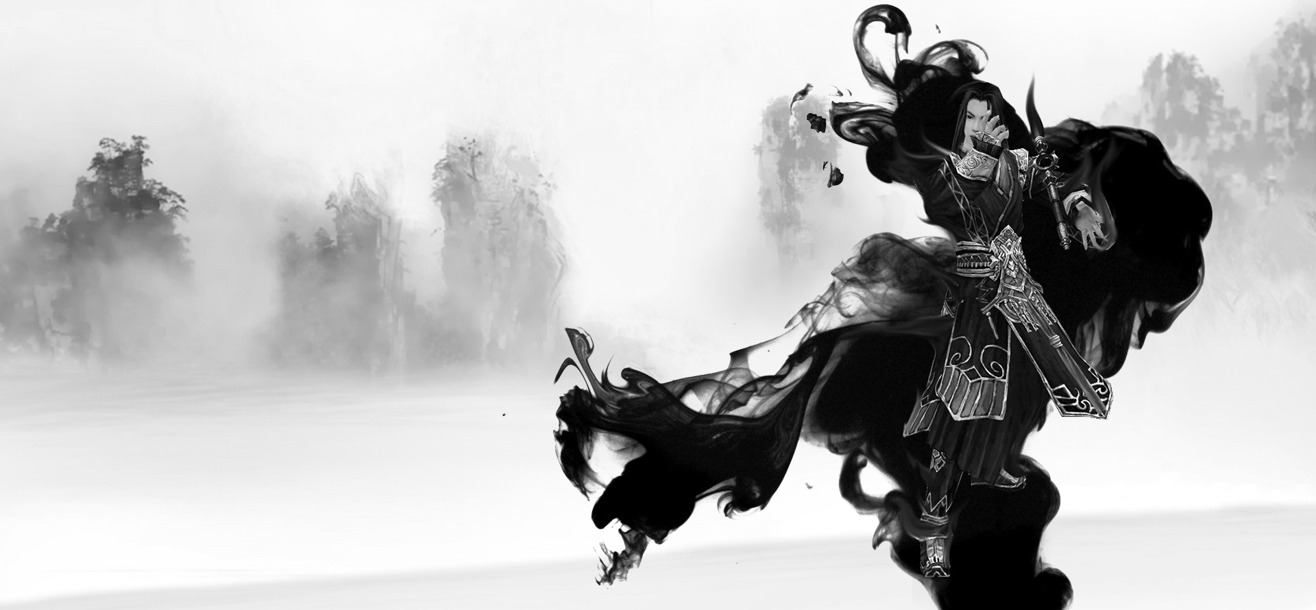 Chinese Ink Style Martial Arts Background Banner Landscape ...