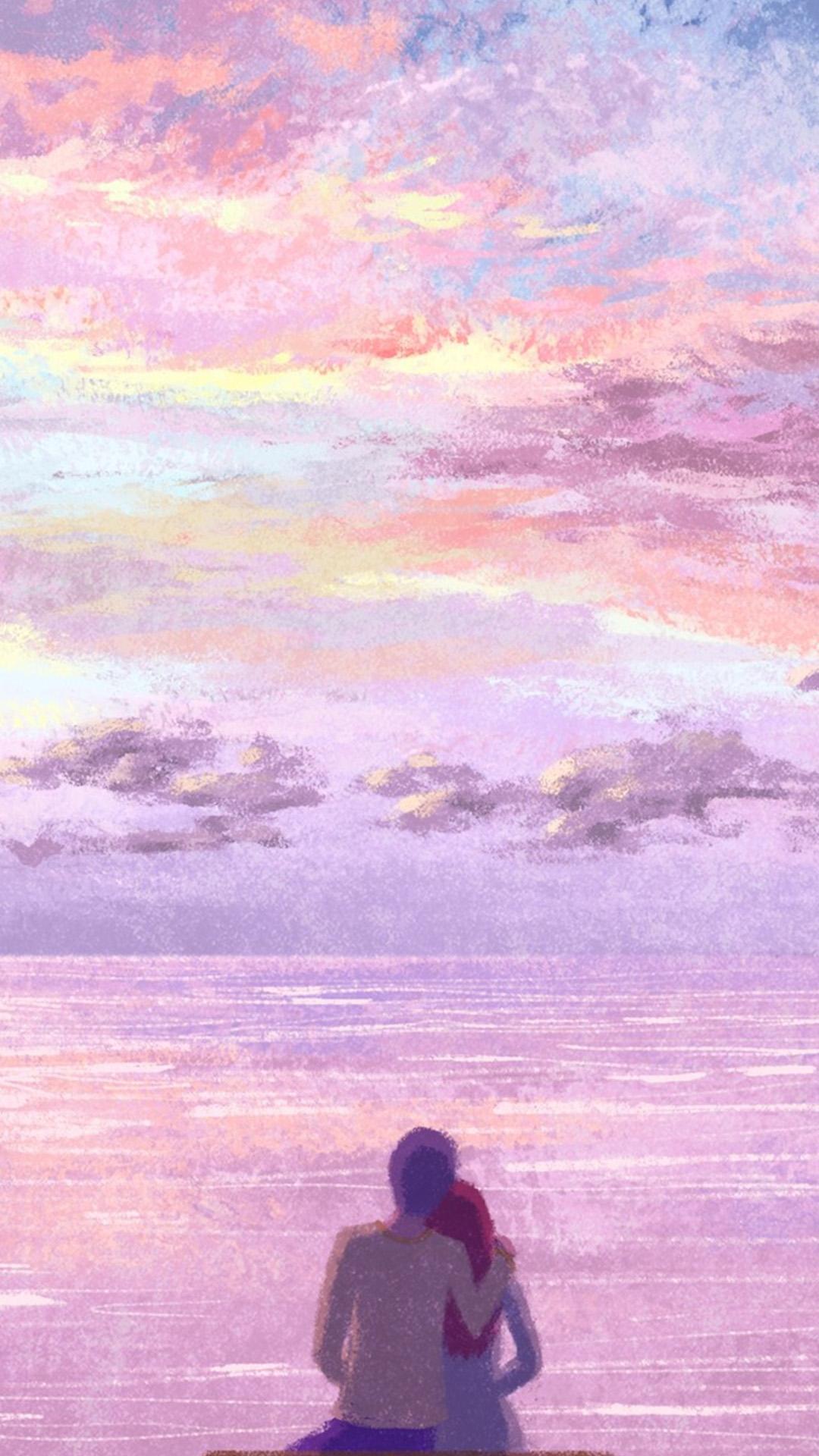 無料ダウンロードのための海辺のカップル後ろ姿H5背景 海辺 カップル