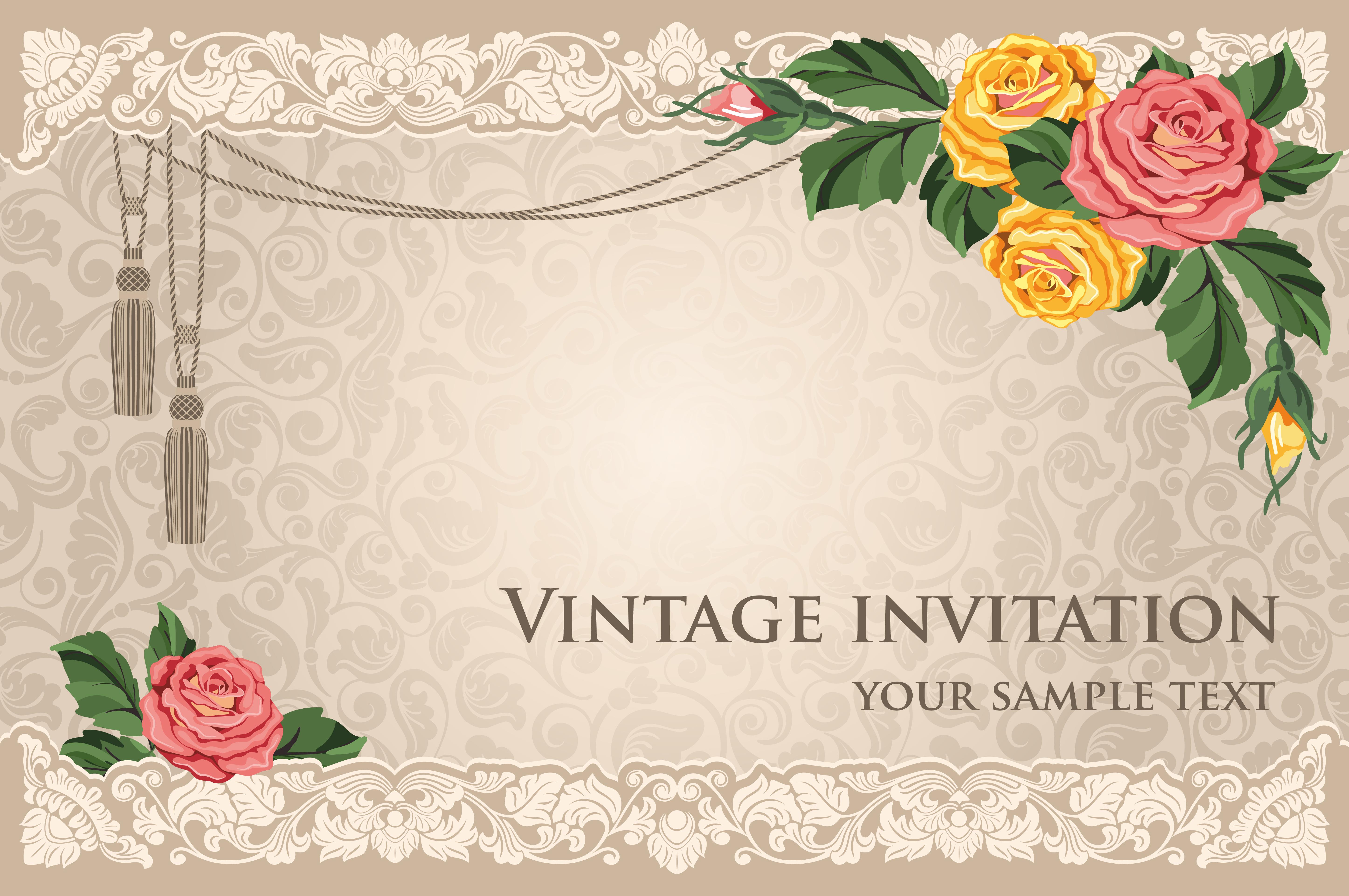 Wedding Invitation Card Background: Vintage Wedding Invitation Card Flower Pattern Vector