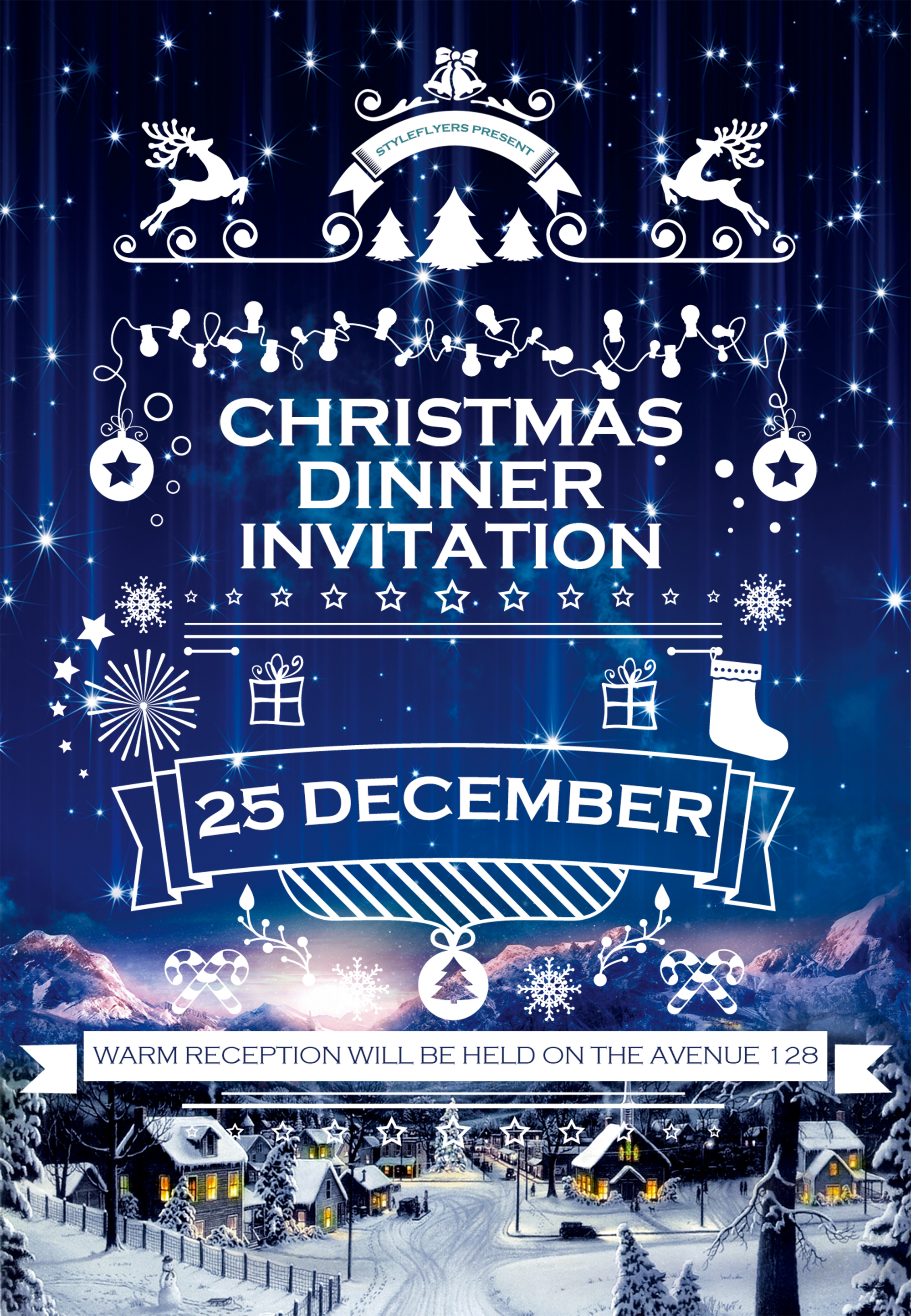 christmas dinner invitation poster template psd background
