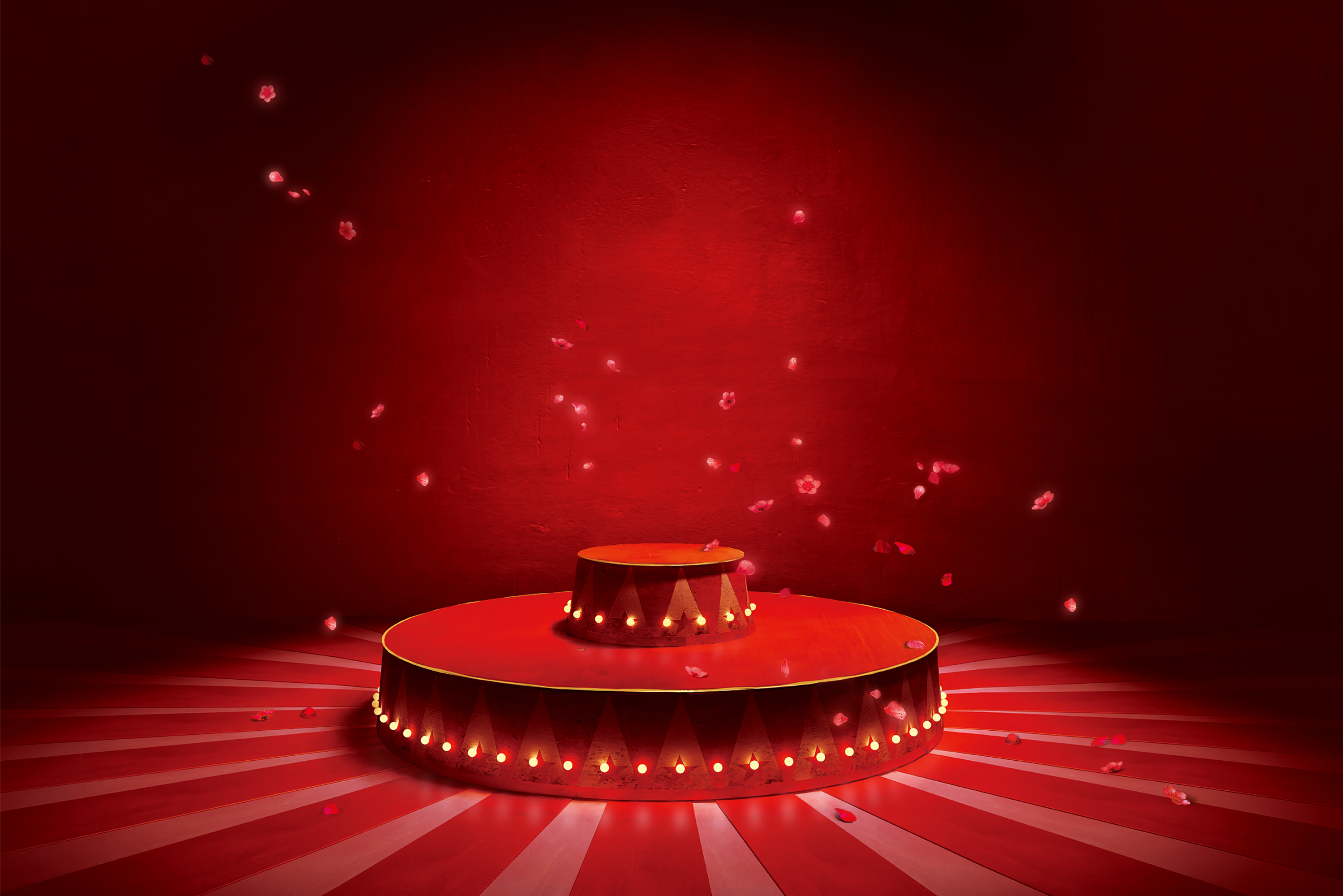 Delicate Petals Red Circus Stage Lighting Background