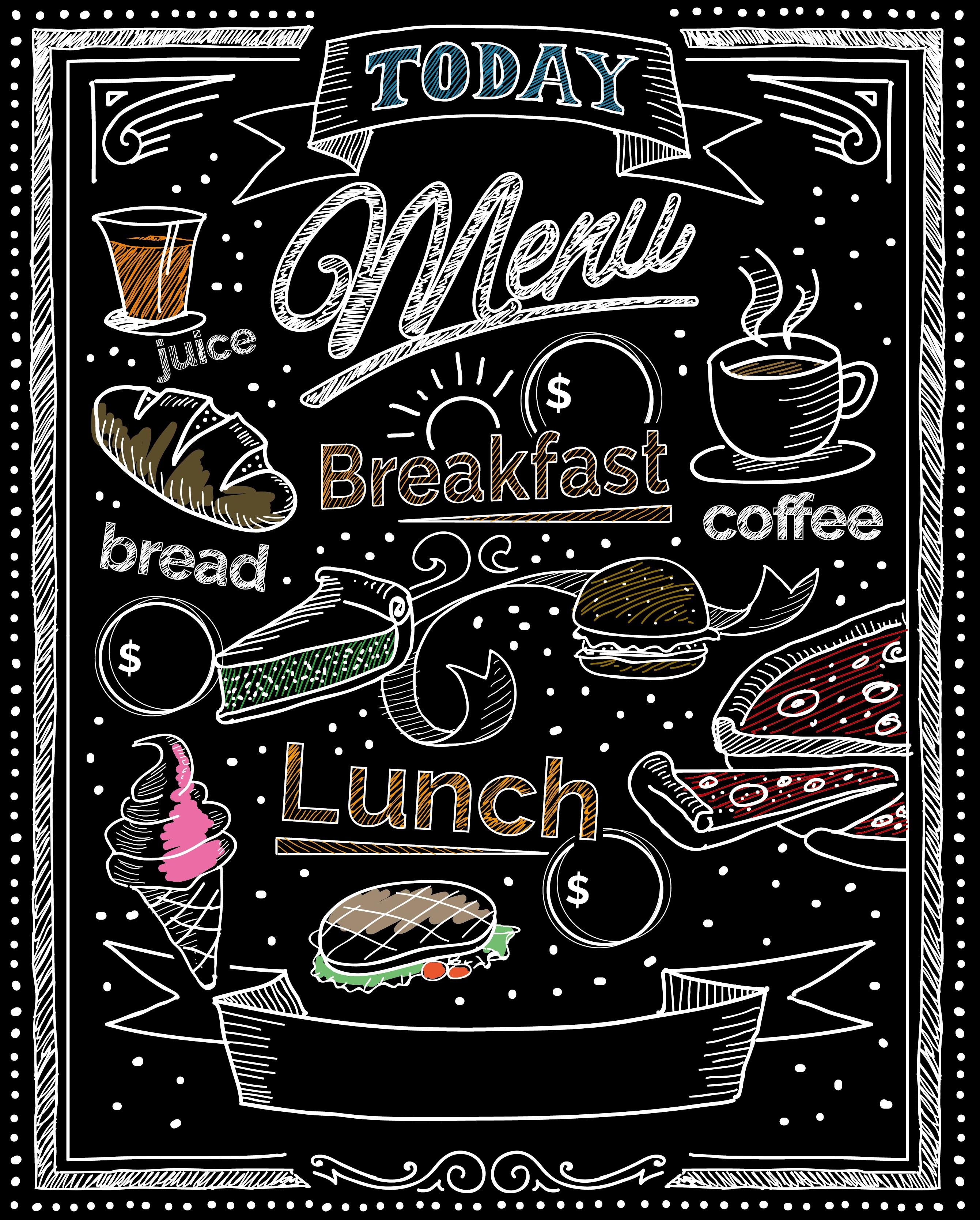 Cafe Restaurant Menu Background Blackboard Style