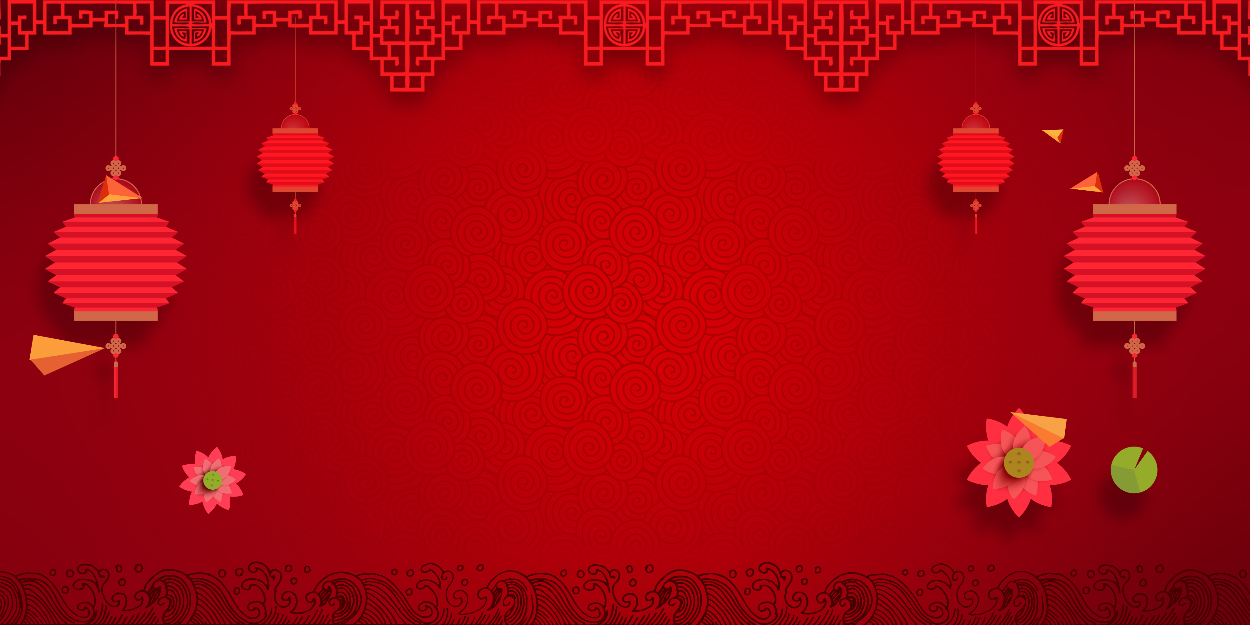 chinese new year poster background material  red lantern