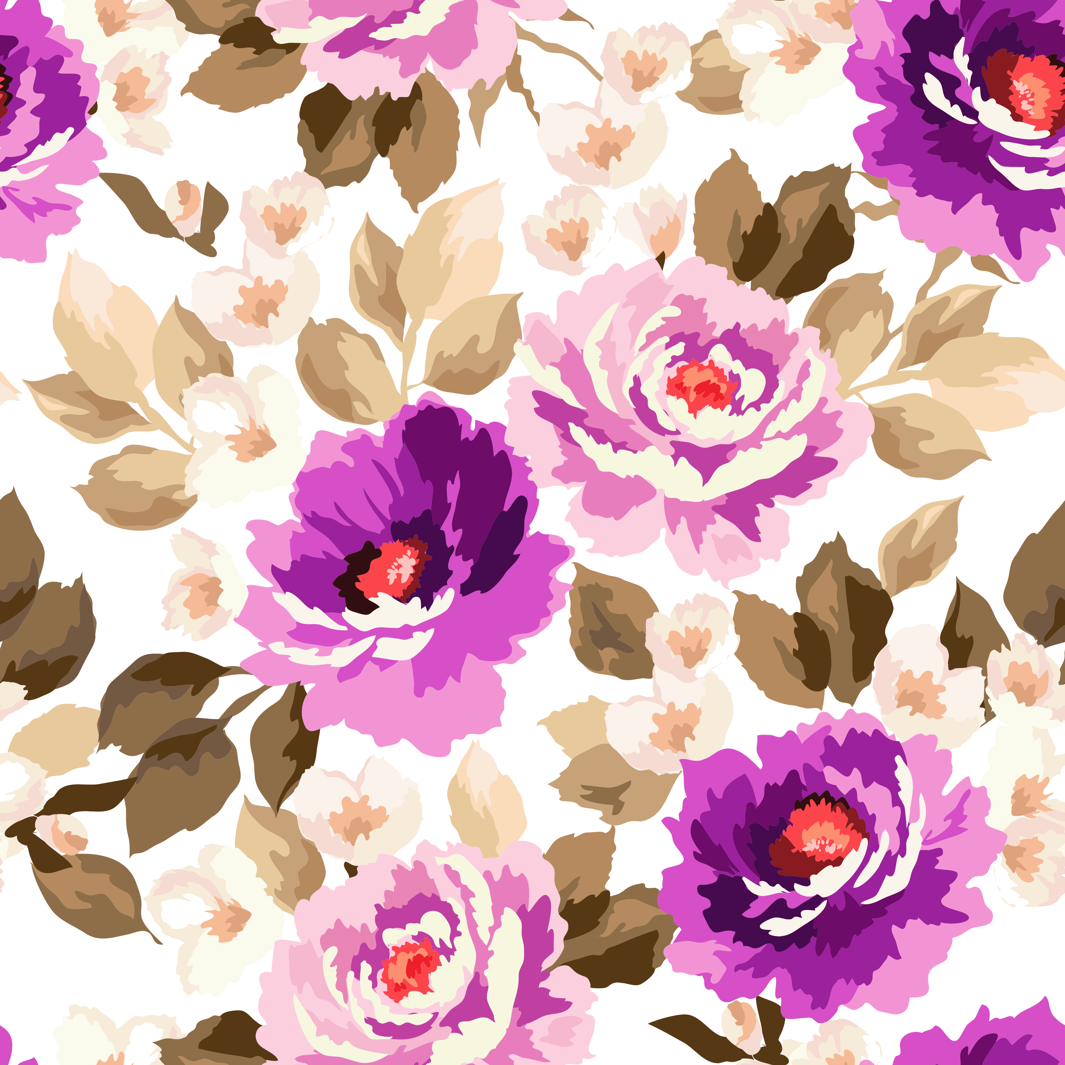 purple watercolor floral seamless background material