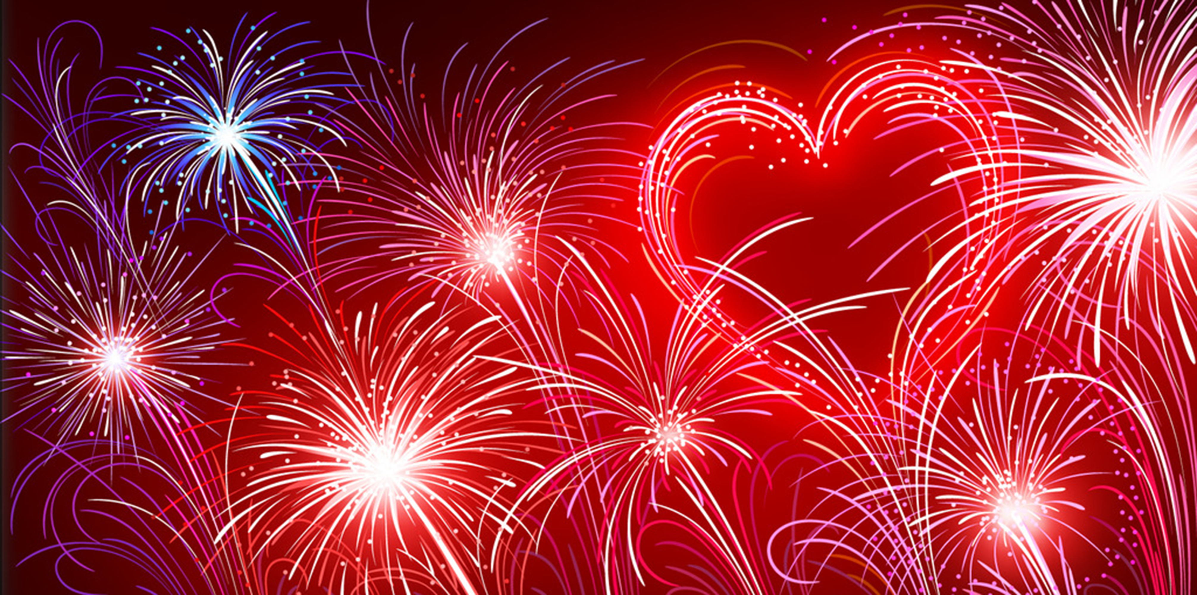 feu d artifice de fond en forme de coeur feux d artifice