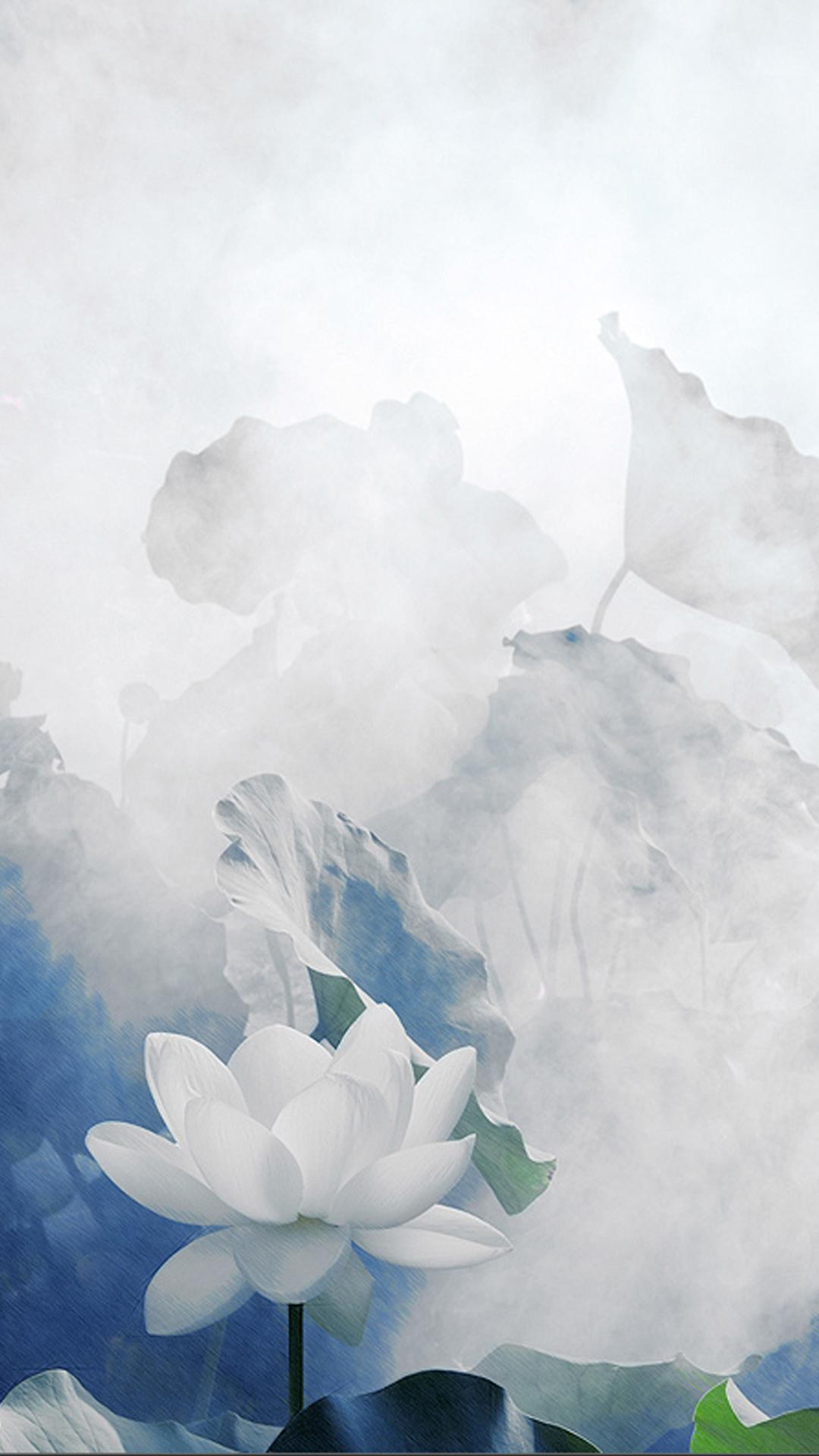 Lotus Lotus Leaf H5 Smoke Background Lotus Leaf Lotus Smoke