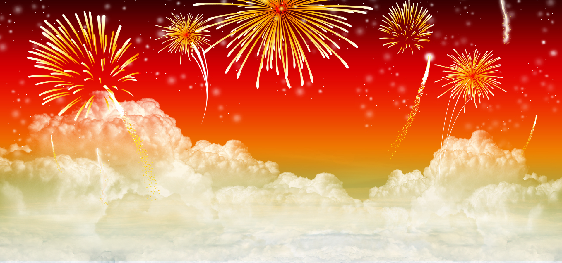 New Year Fireworks Flat Red Poster Background, Wedding, New Year ...