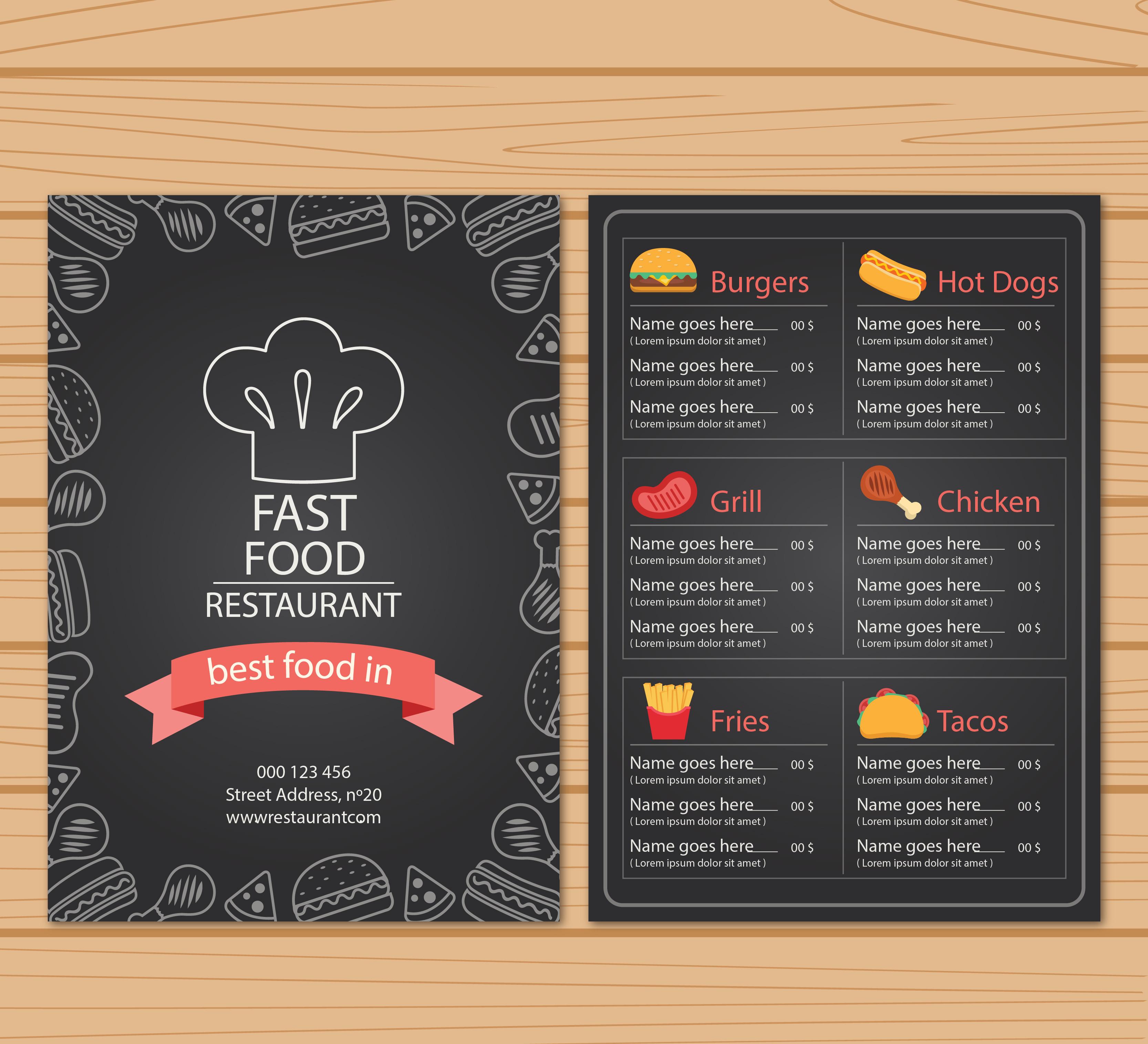 personalized creative snack menu background template