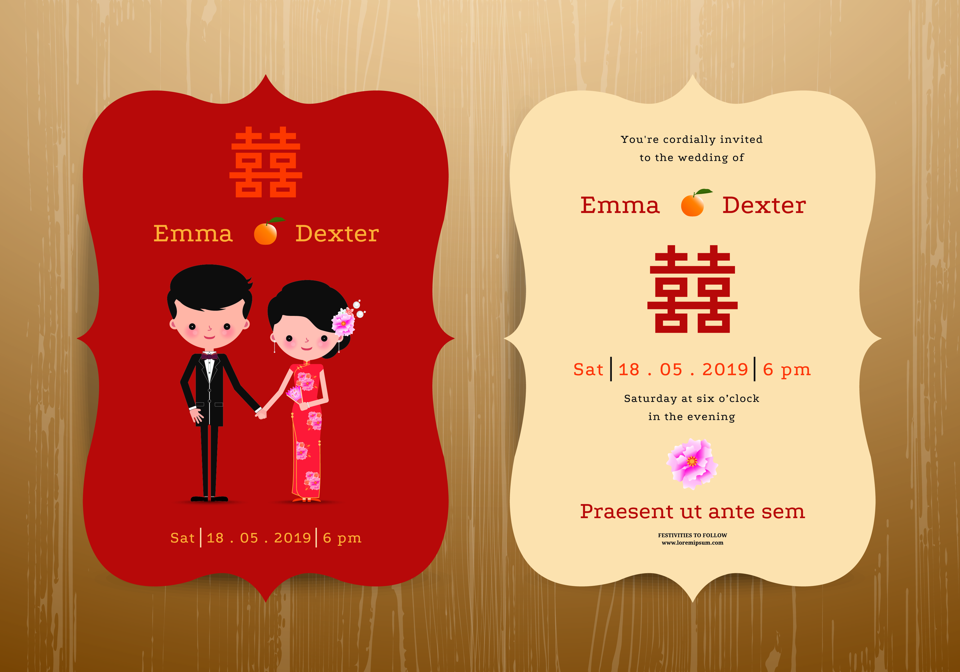 Cute Creative Wedding Invitation Card Red Background Material ...