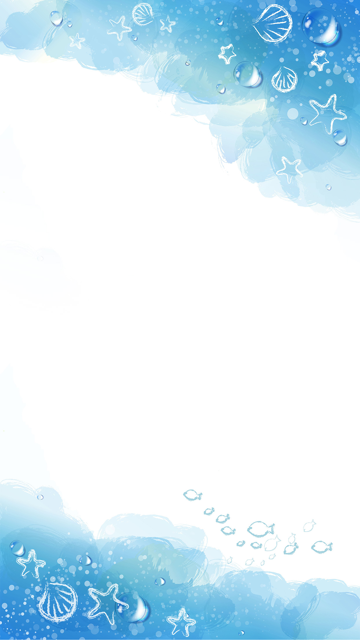 cartoon blue watercolor background material ocean h5