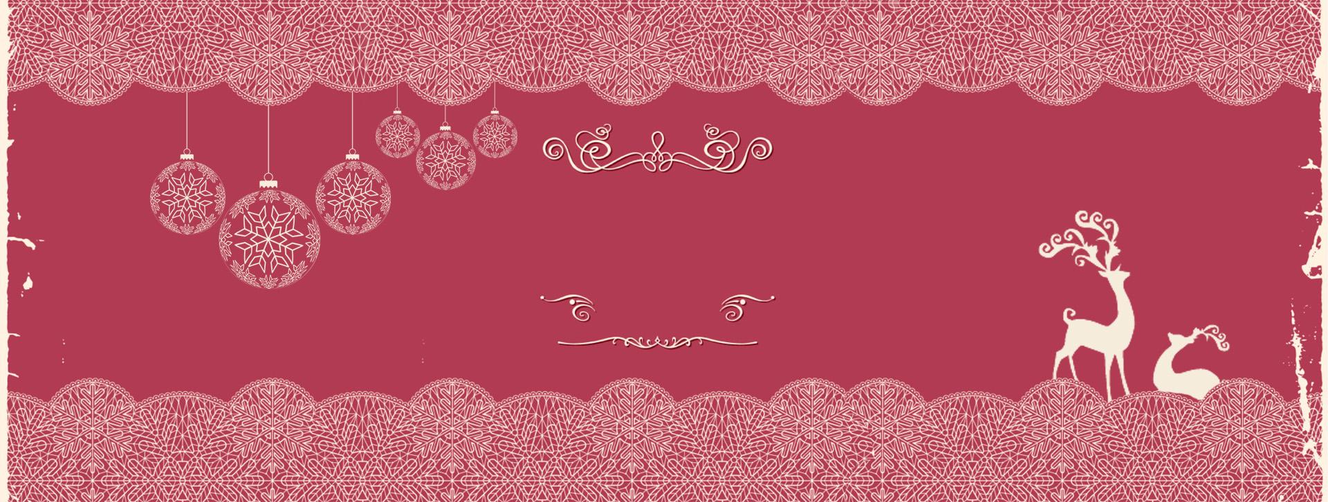 Christmas Card Background Banner Elk Red Papercut Border