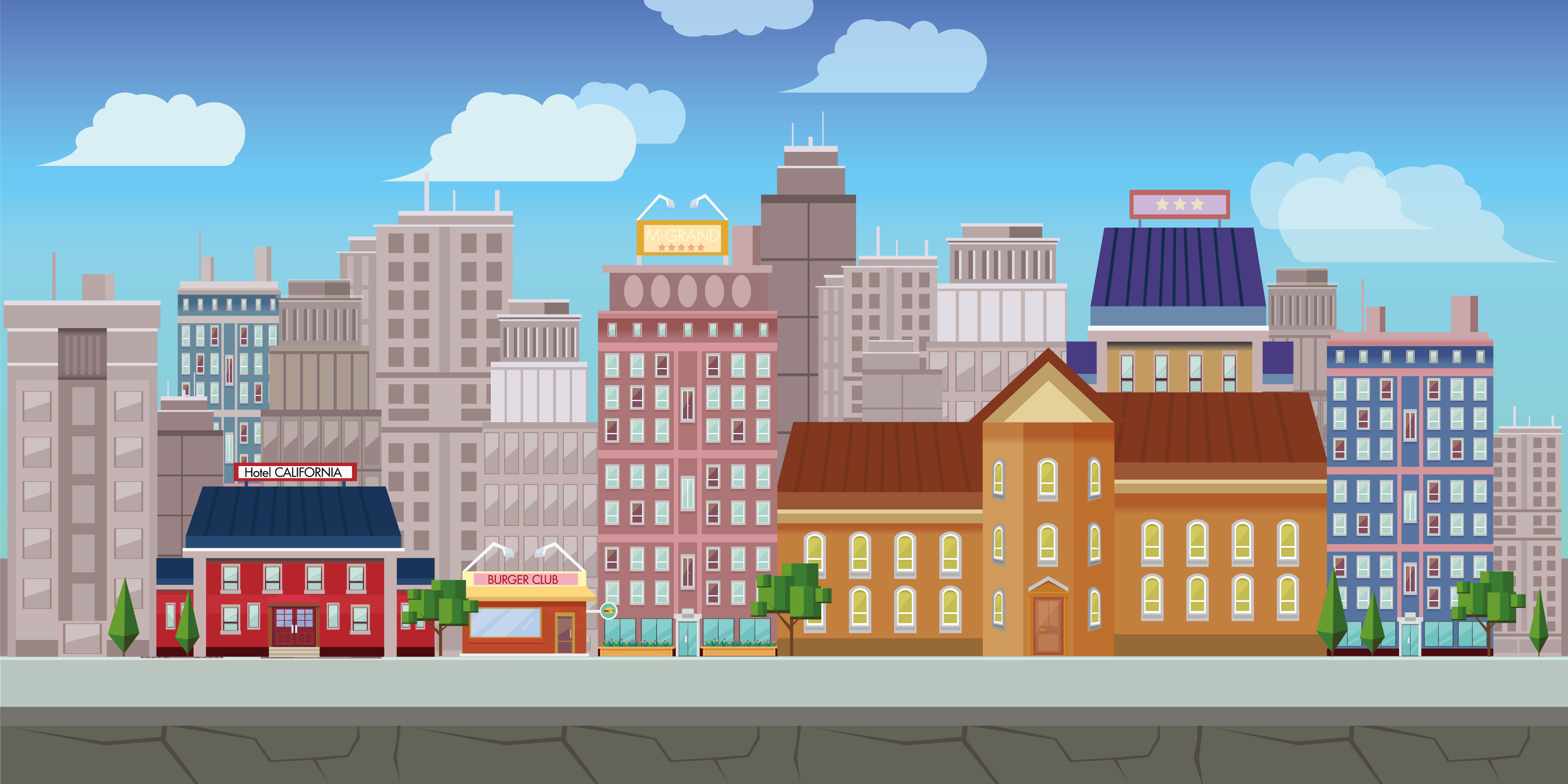 Cartoon City Background Material, Cartoon, City, Town ...