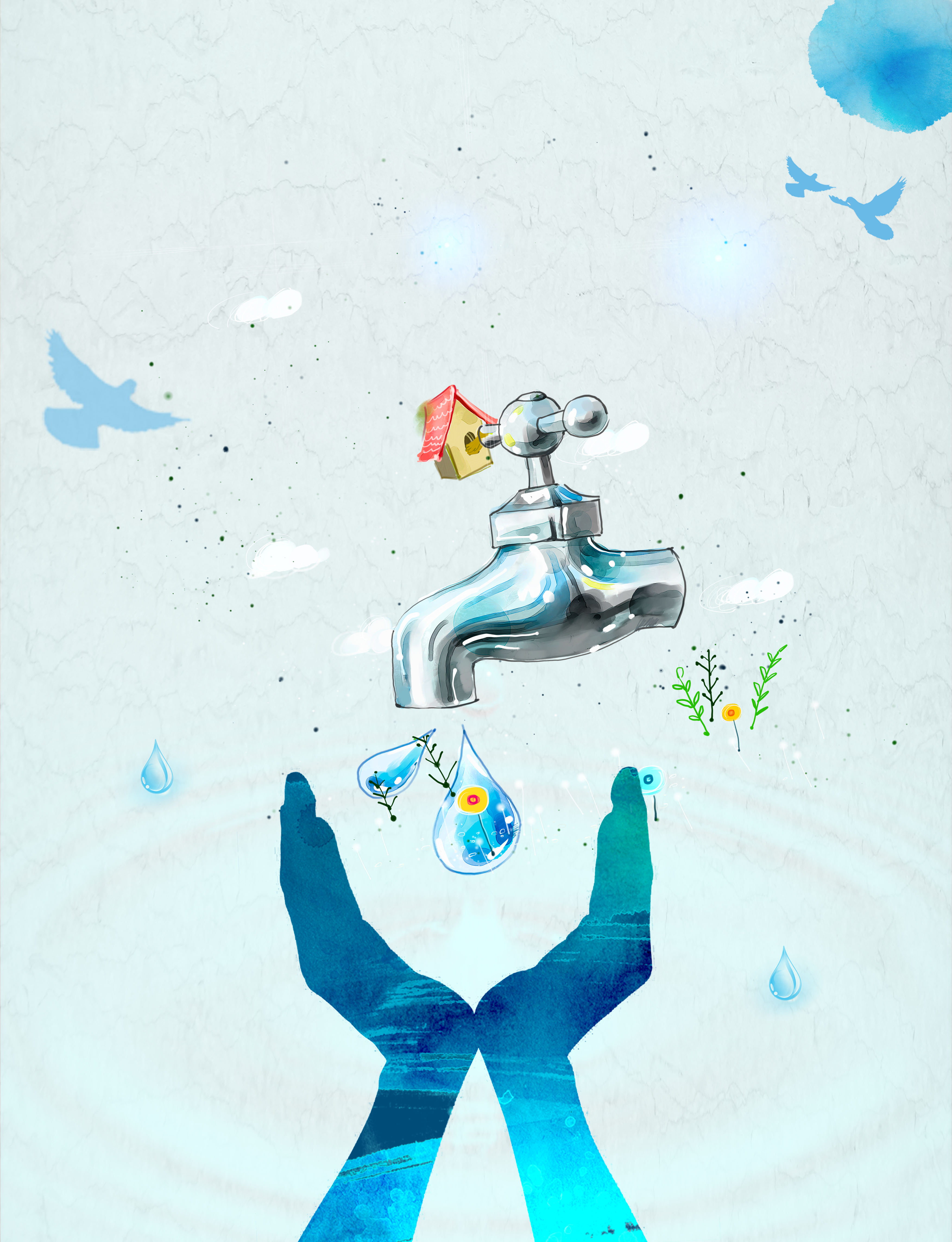 save water watercolor poster background material  conserve