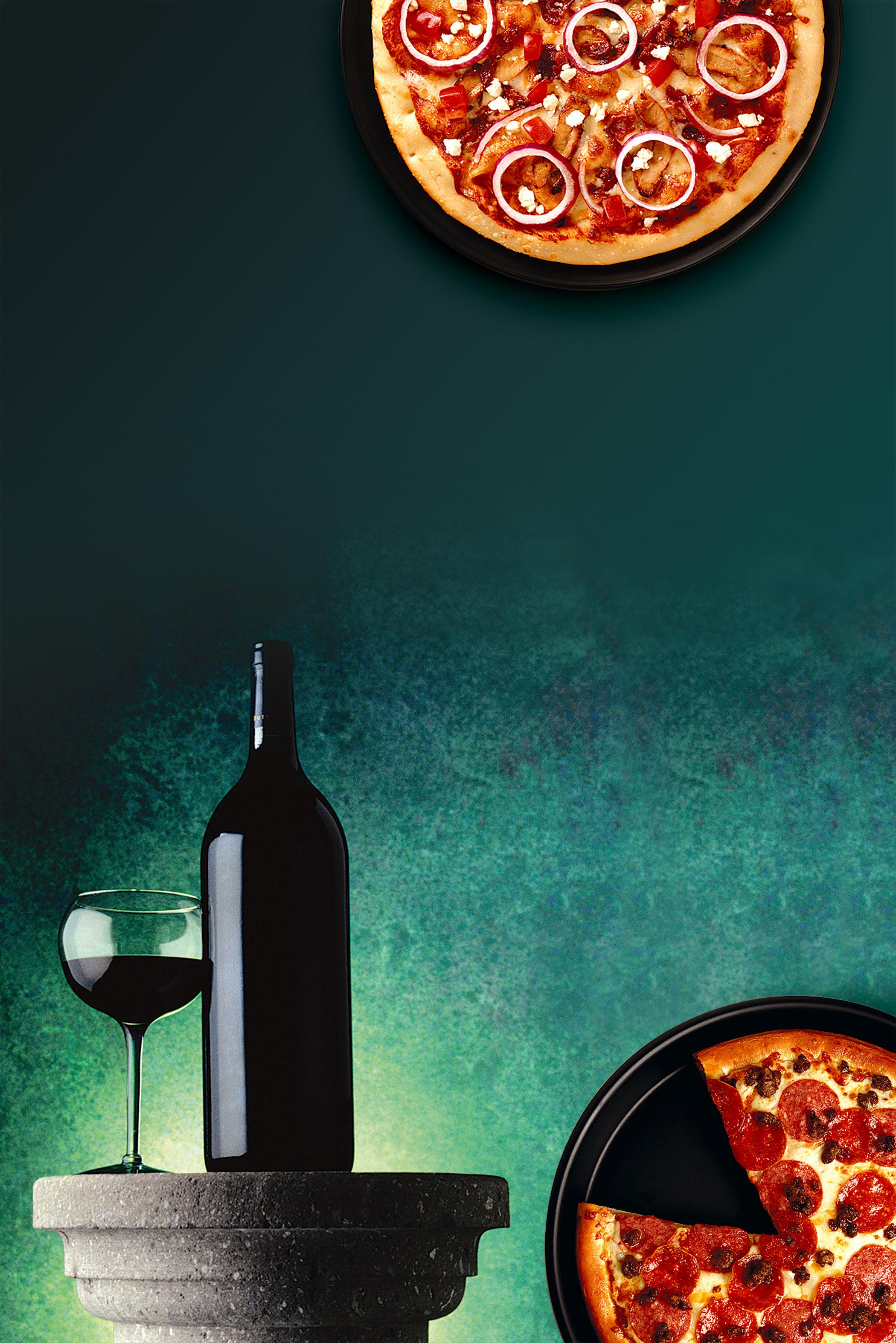 menu pizza botella azul de fondo botella vino tinto fast