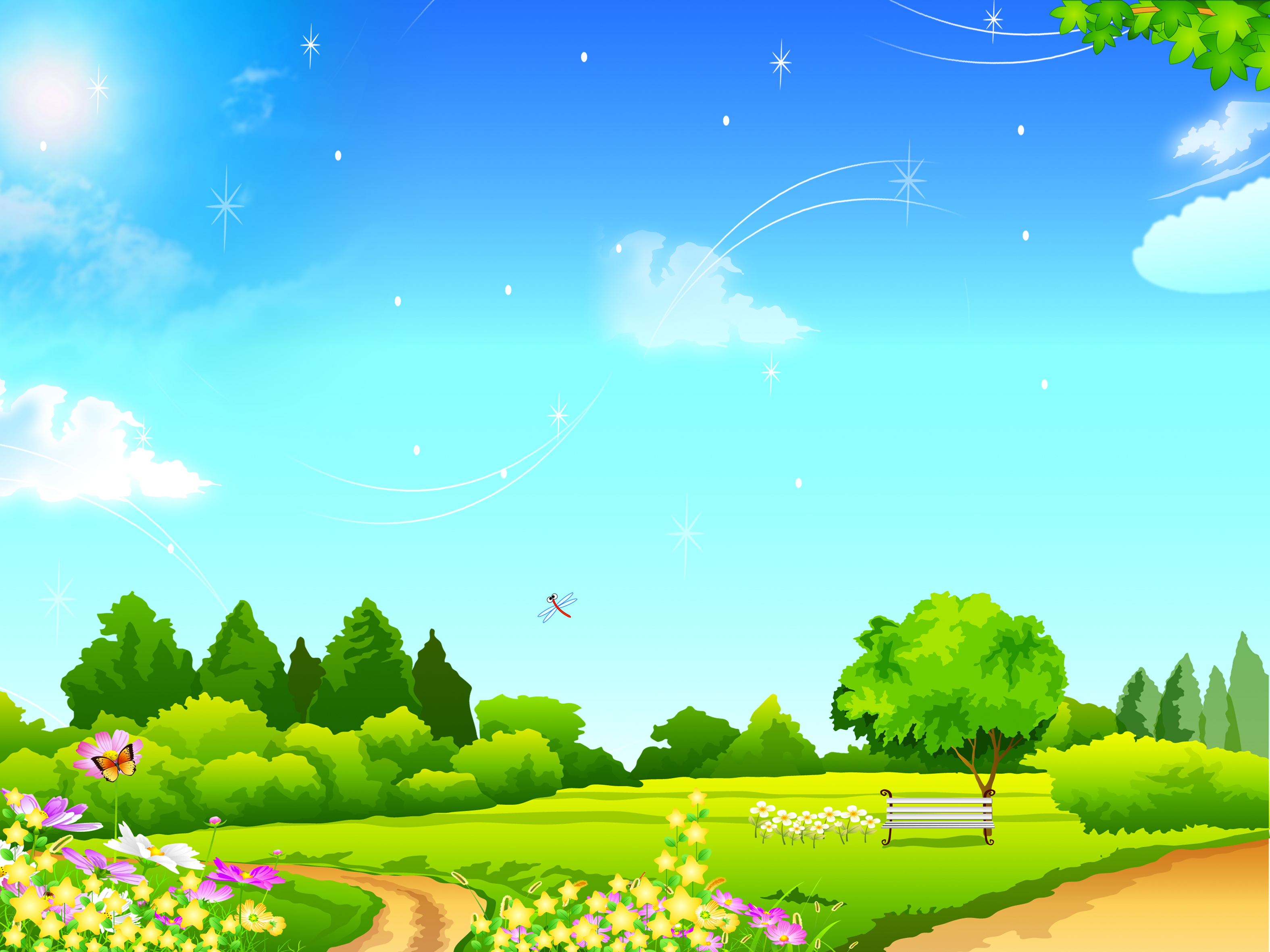 Le nuvole in cielo il poster di cartone verde prato i cartoni