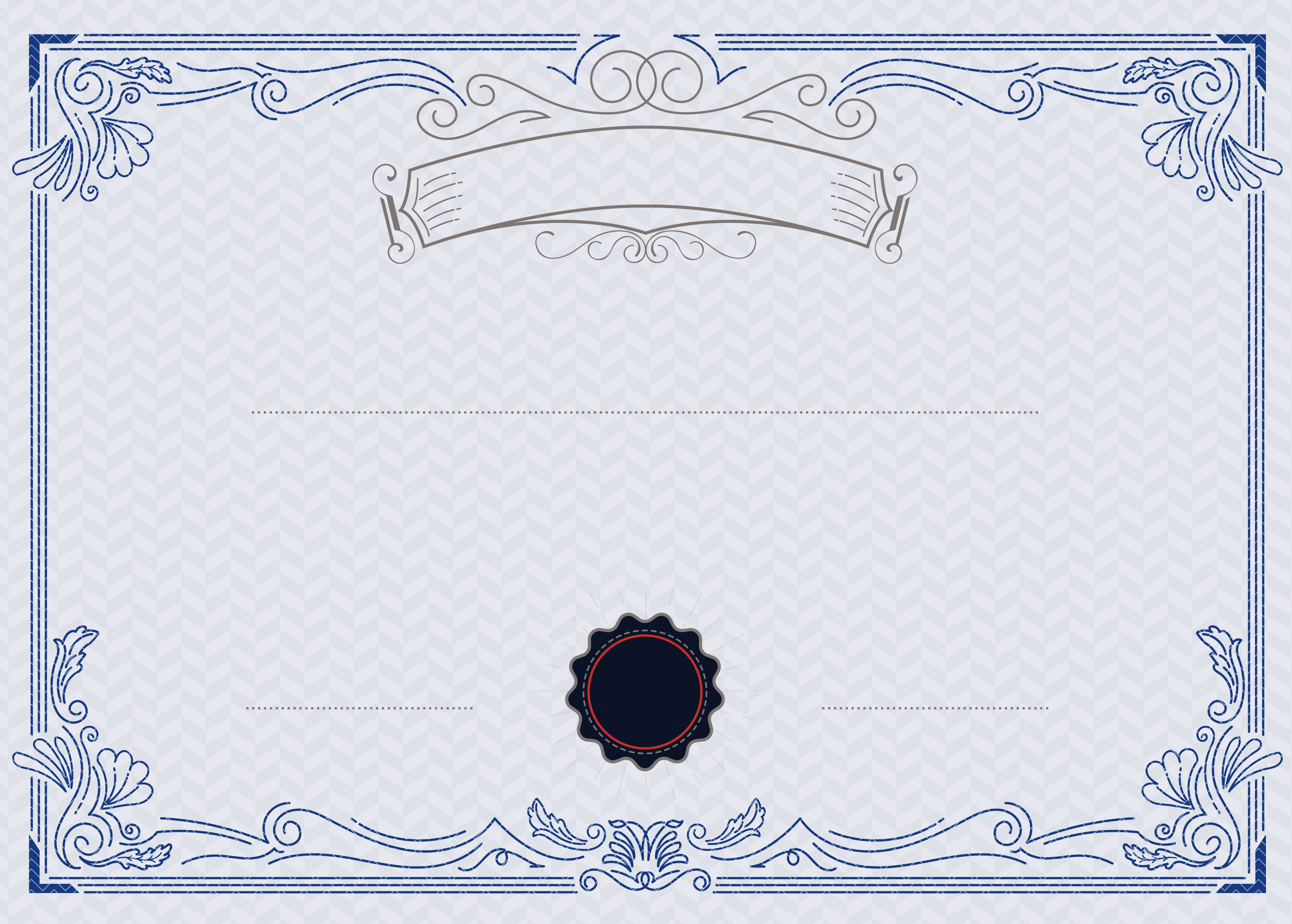 europeanstyle blue and white pattern vector certificate