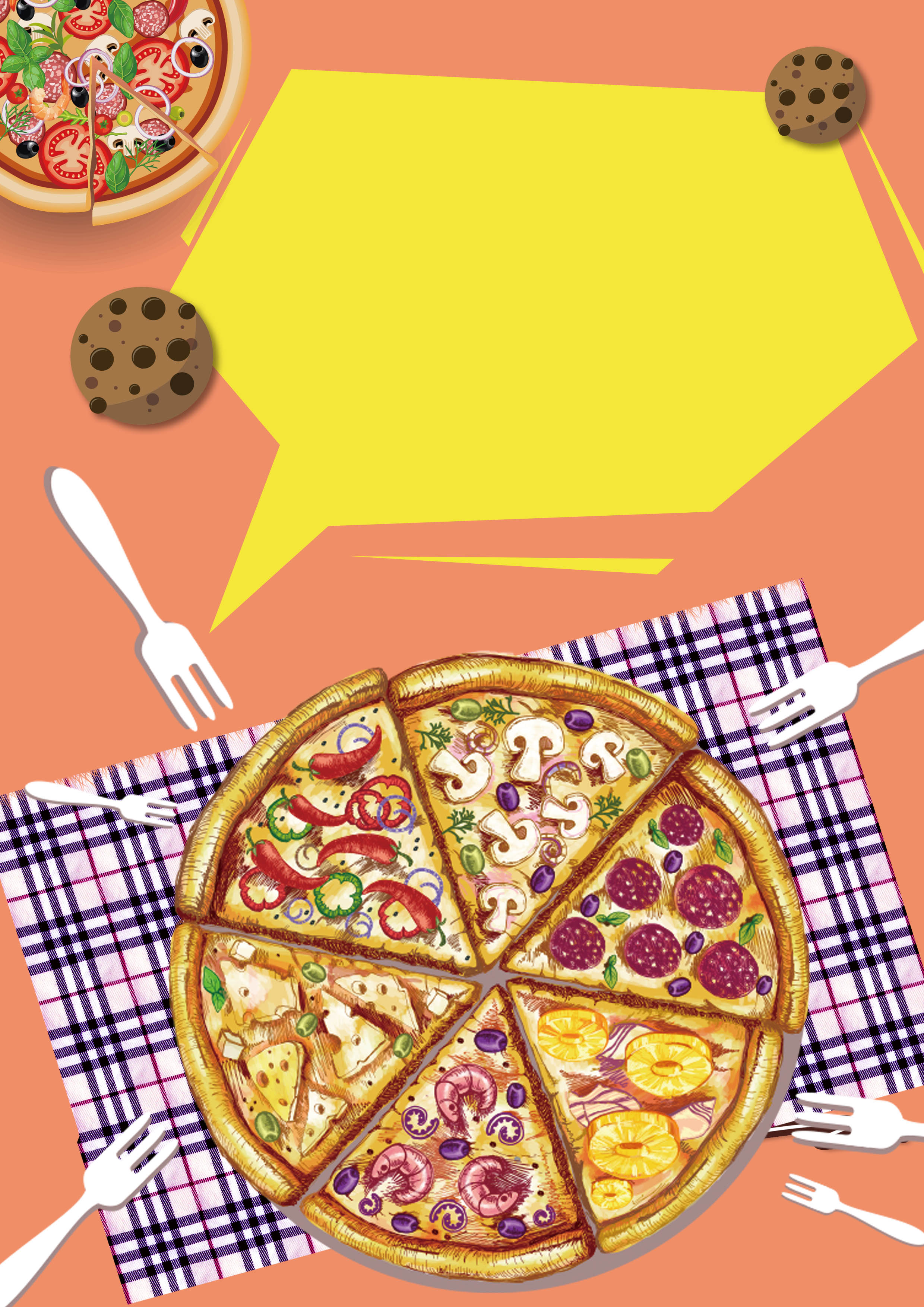 la pizza viene cartel plantilla de fondo la pizza viene