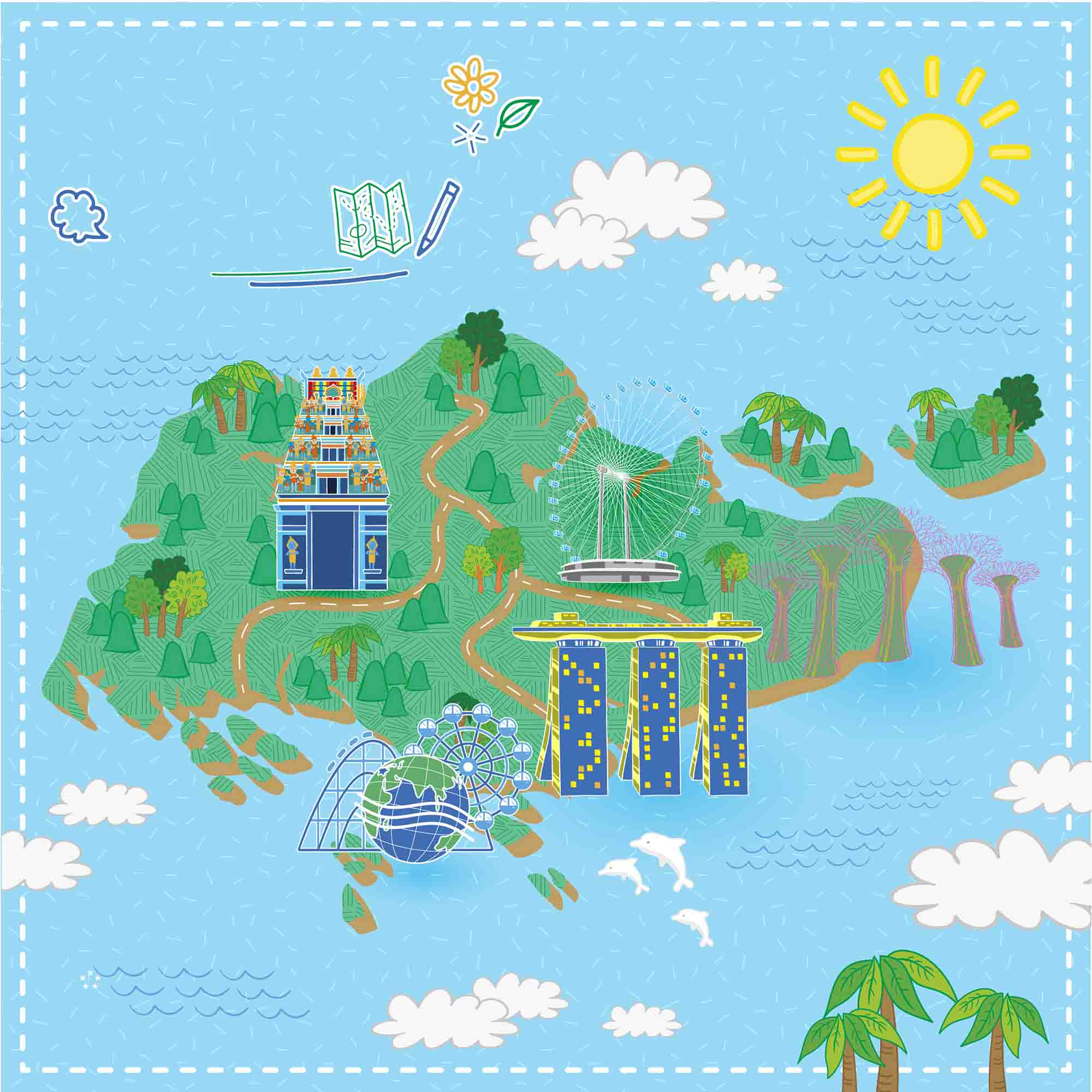 Hand Drawn Vector Map Tourist Attractions In Singapore ...