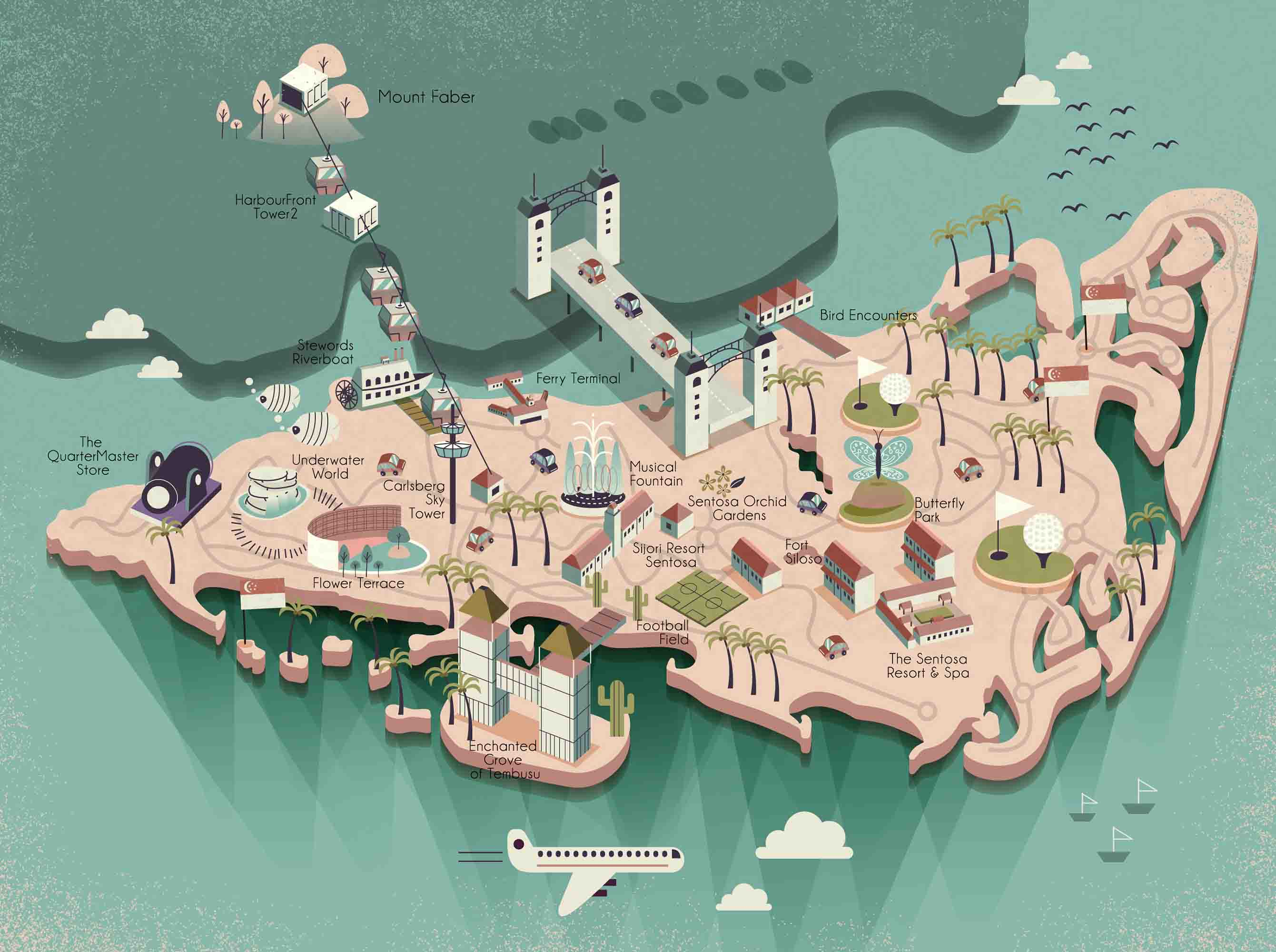 hand drawn vector map tourist attractions in singapore marina bay poster background  tourism