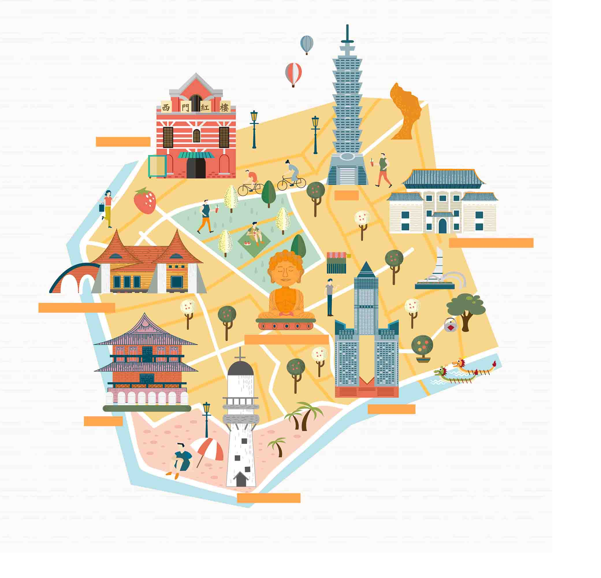 hand drawn vector map tourist attractions in taiwan taipei 101 posters hand painted vector tourism background image for free download
