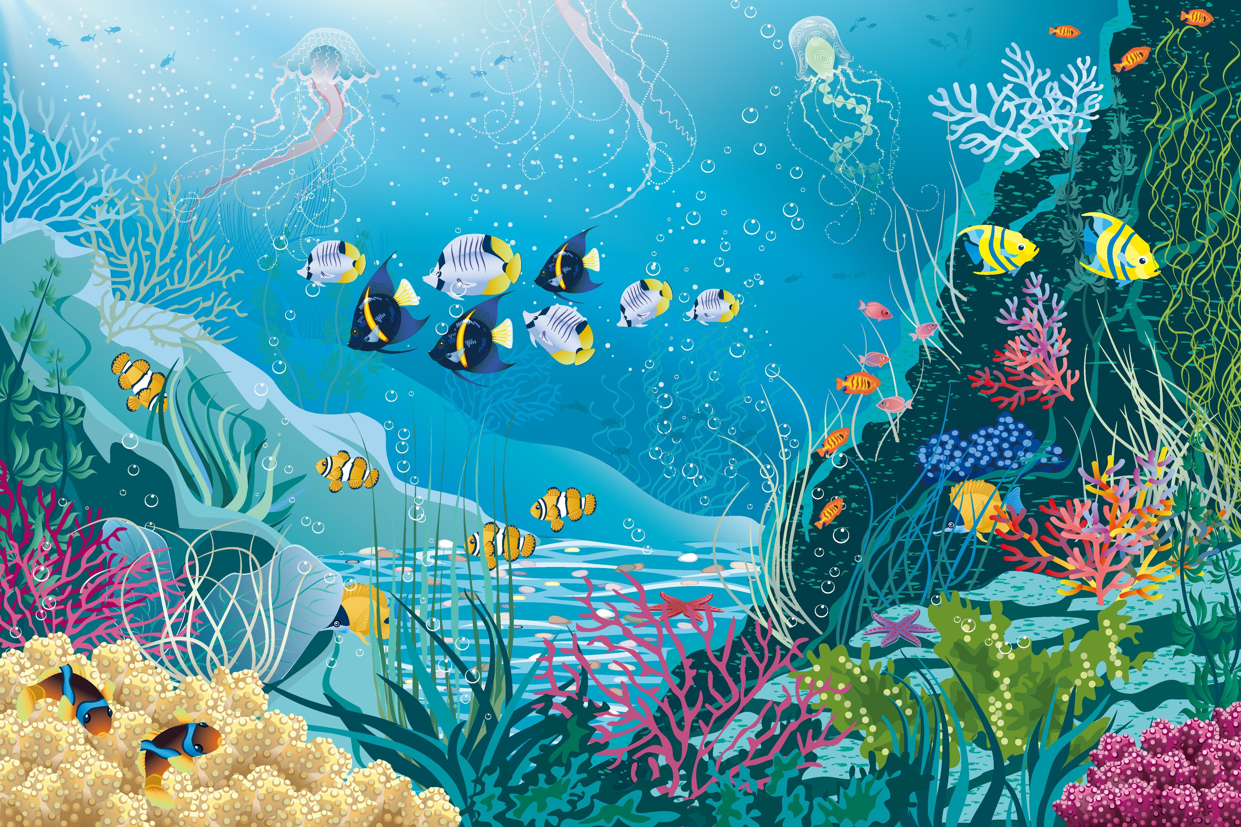 Cartoon Fish Underwater World Background, Cartoon, Seabed ...