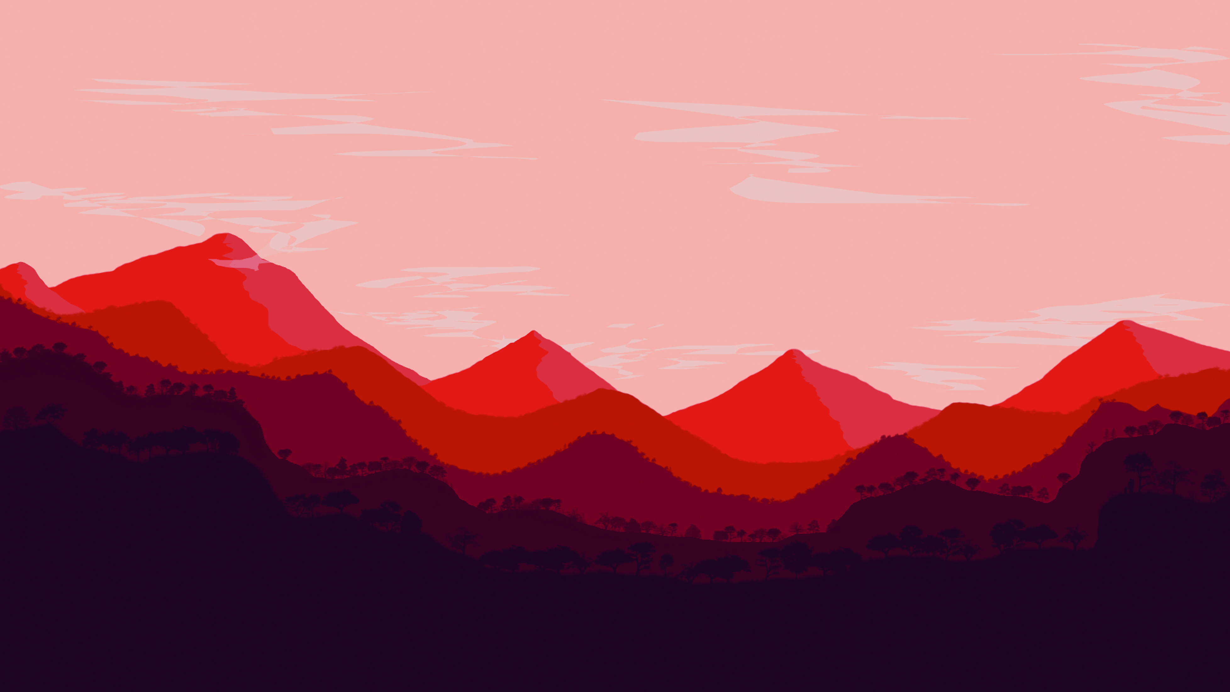 Red Gradient Background Mountains, Red, Gradual Change, Mountains ...