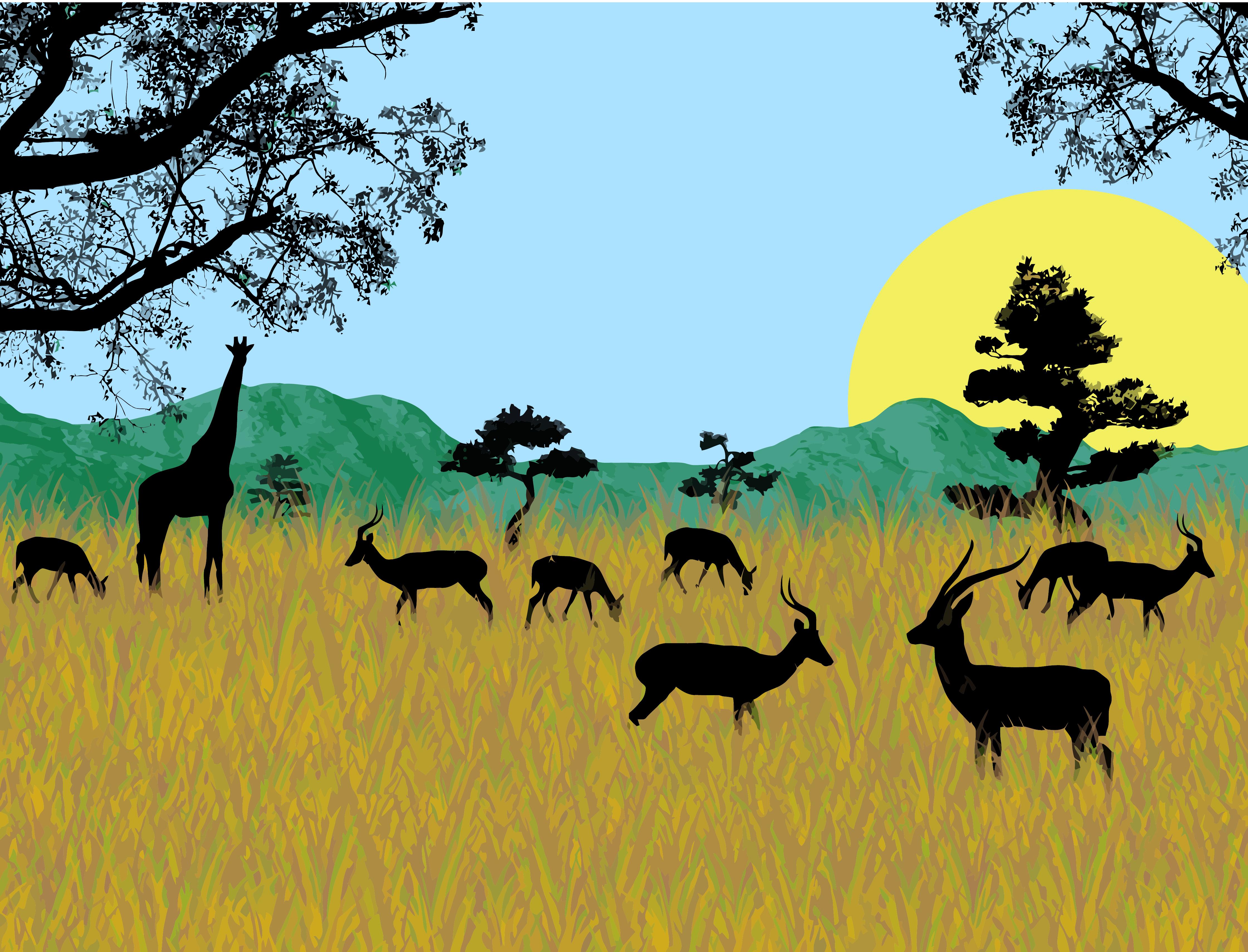 La savana africana silhouette di base erba antilope