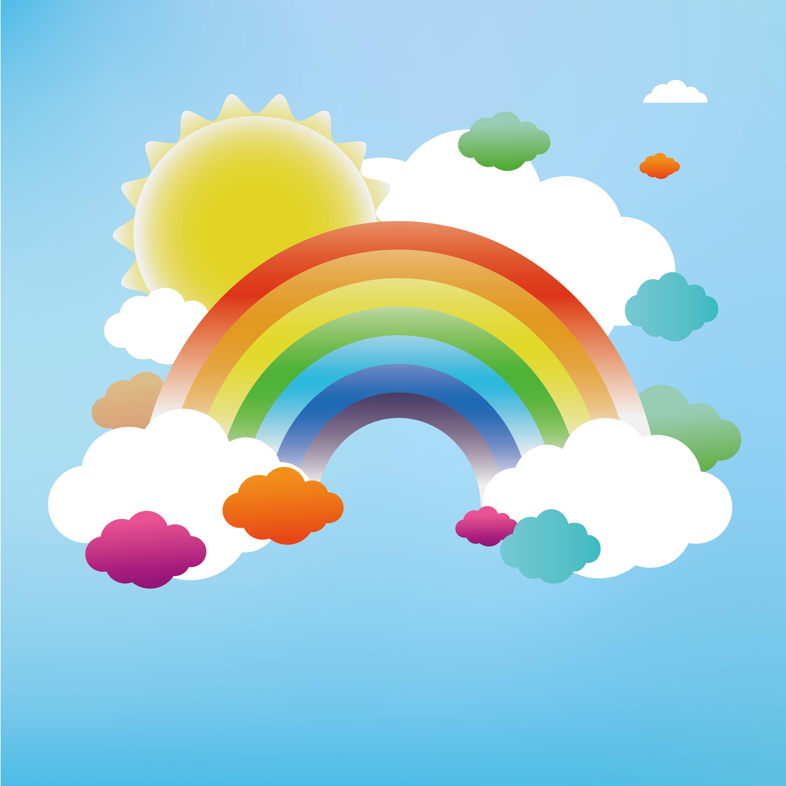 Cartoon Rainbow Background Material, Cartoon, Color, Sky ...