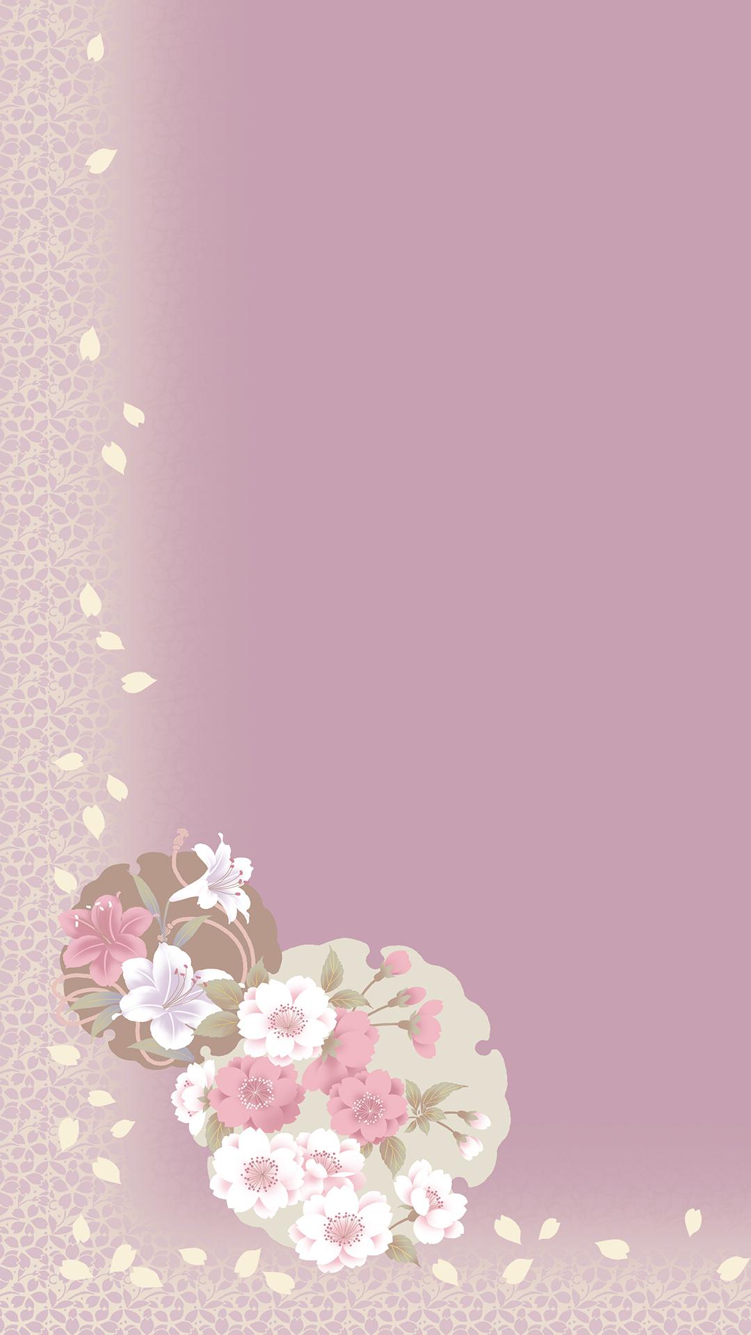 Elegant Pink White Flowers Border H5 Background Material
