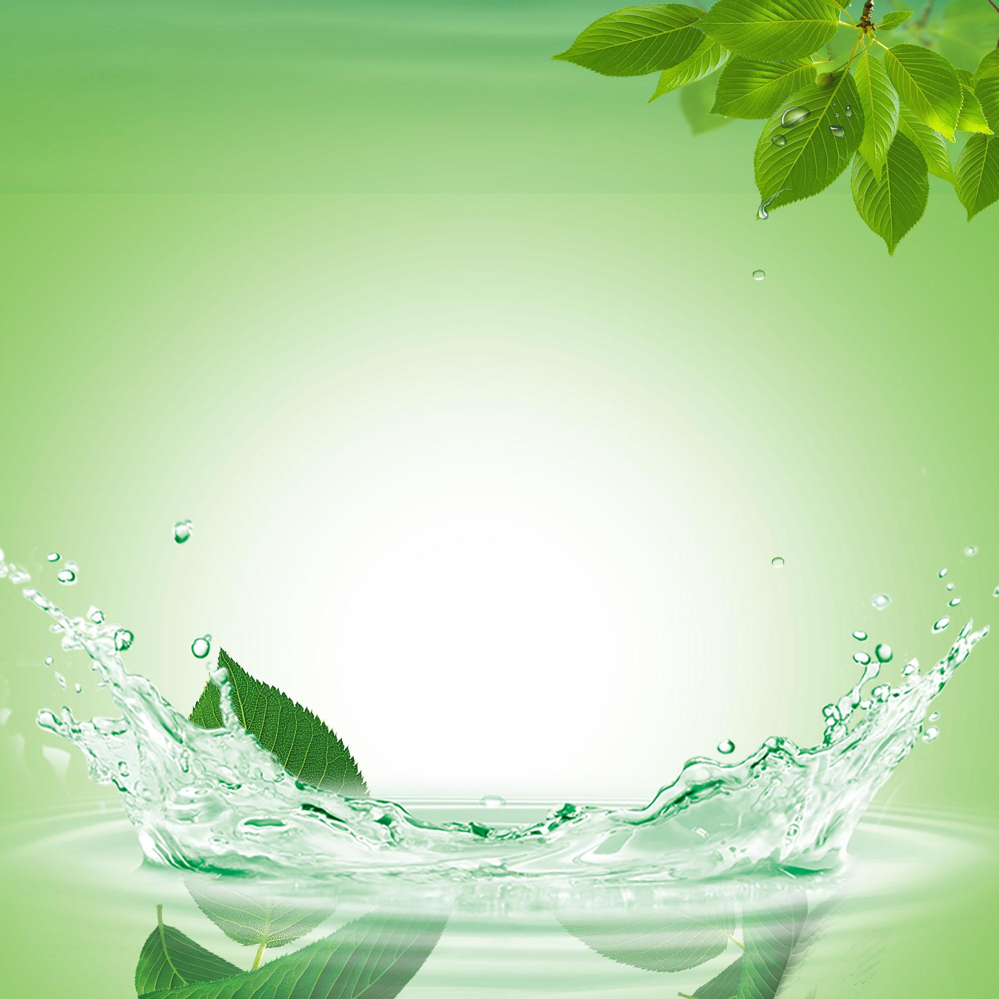Fresh Water Drops Splash Poster Green Background Green