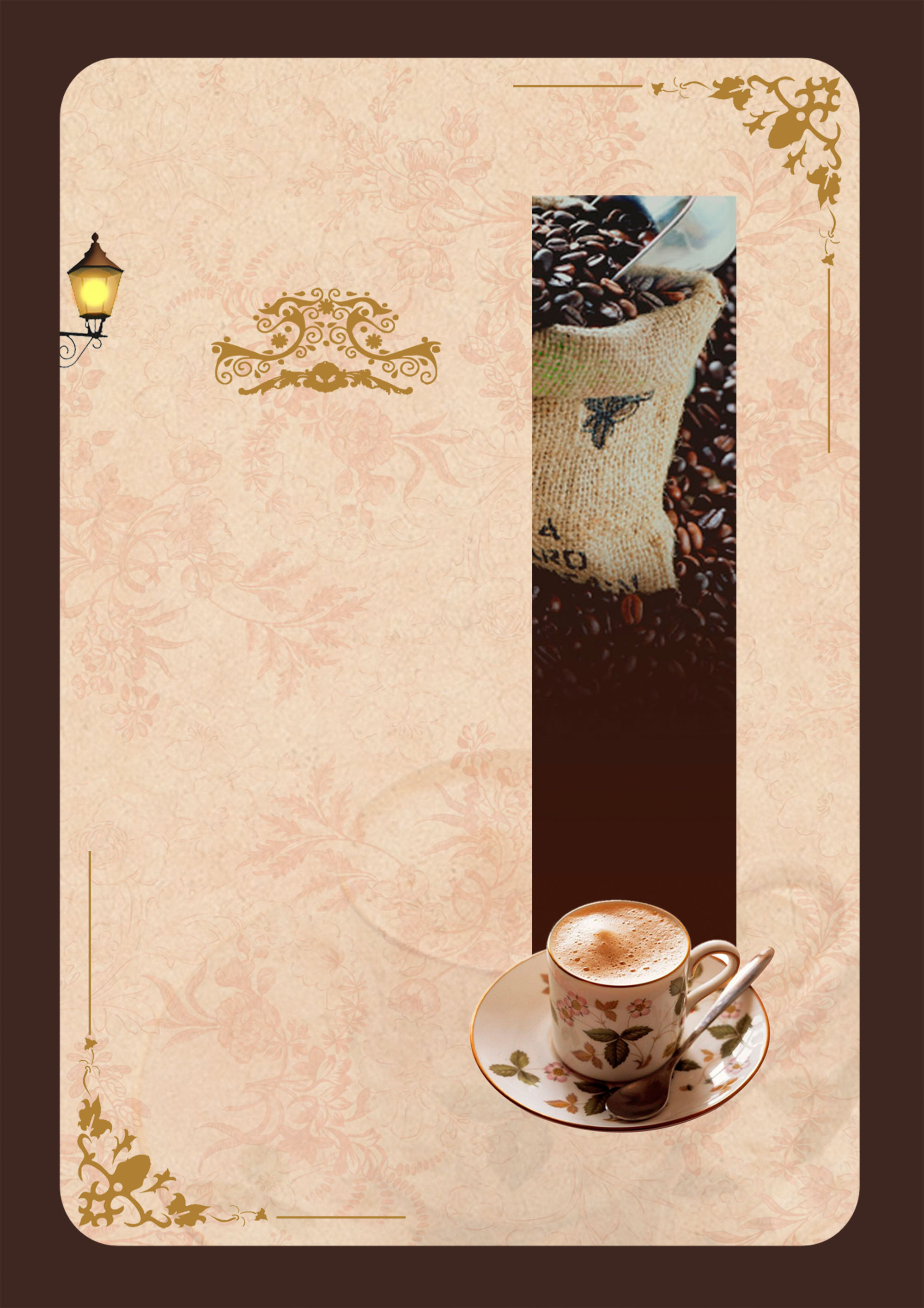 coffee carte menu of traditional pattern background