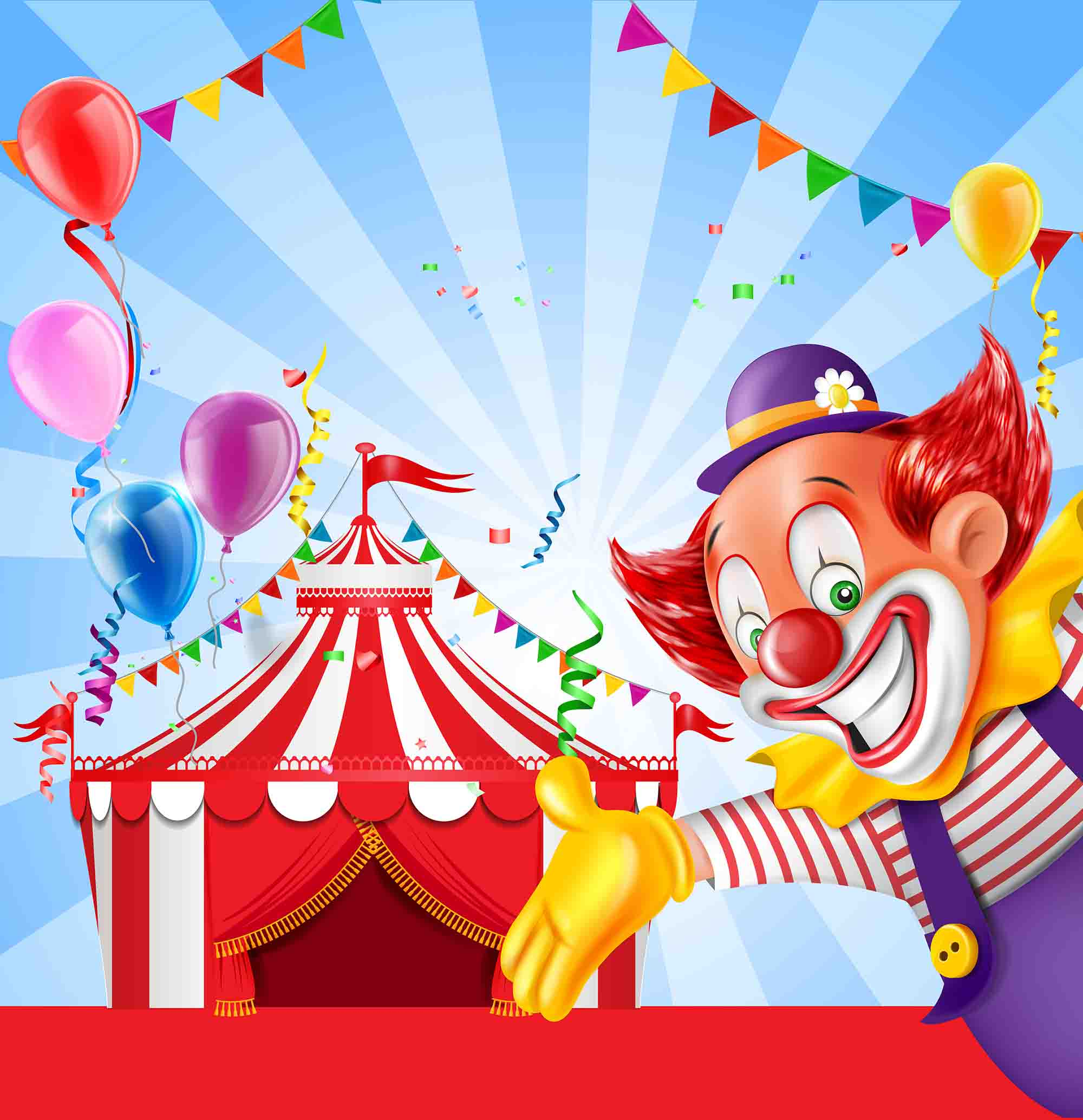 vector circus clown children celebrating birthday greeting