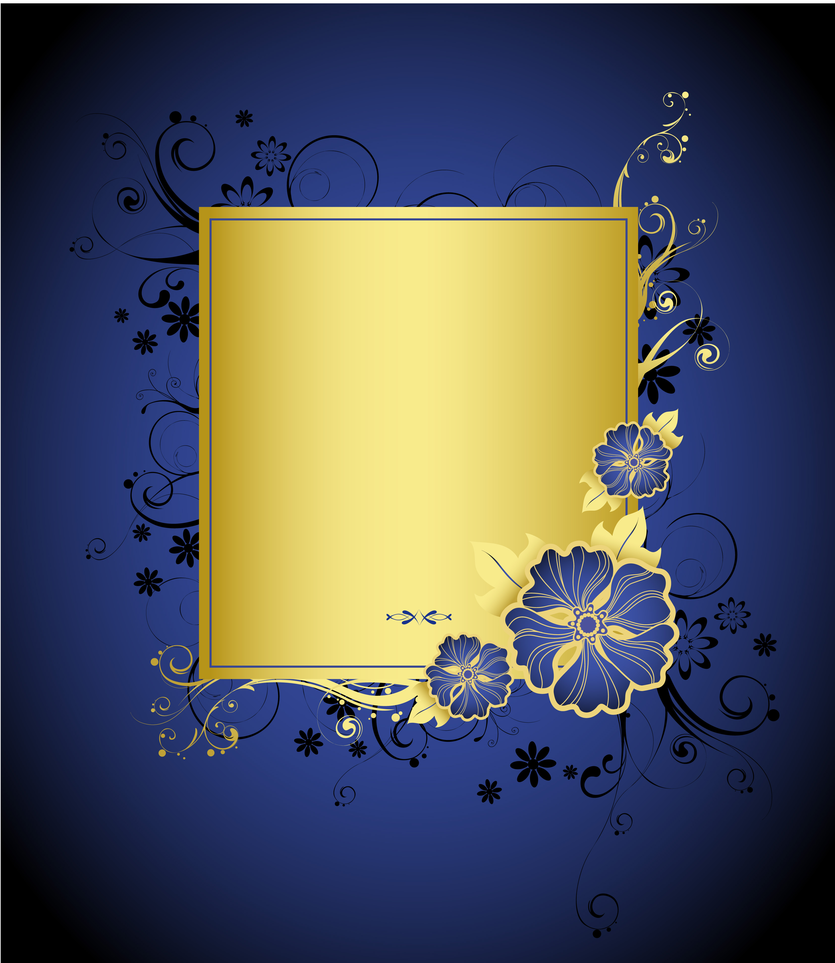 handpainted blue and gold flowers on blue background card