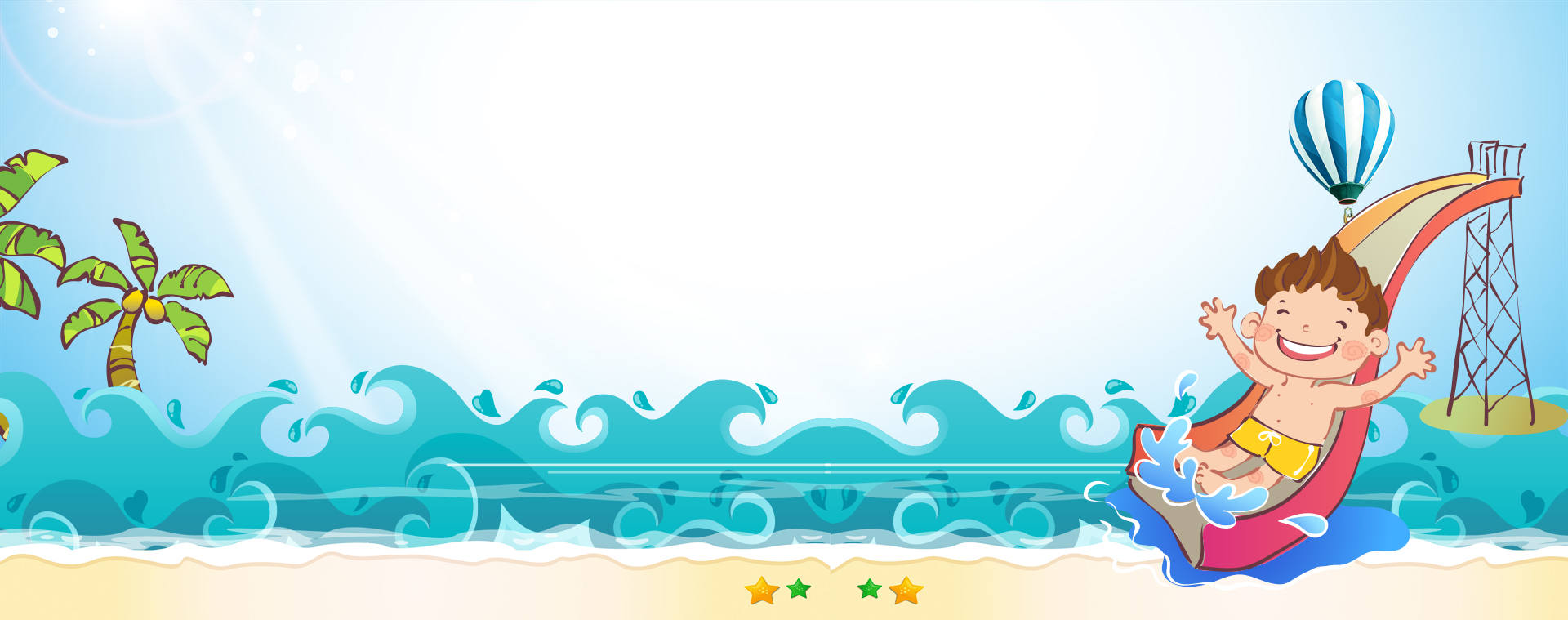 beach beach slides cartoon blue sky background  summer