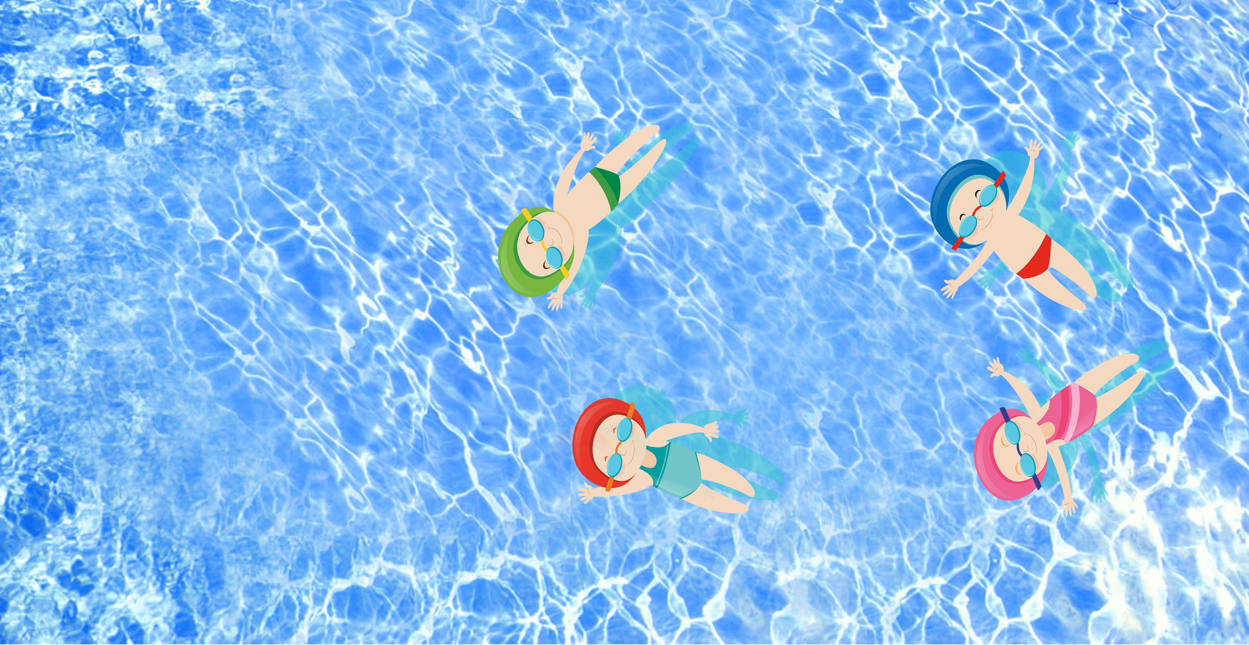 Cartoon Summer Swimming Pool Blue Swimming Background ...