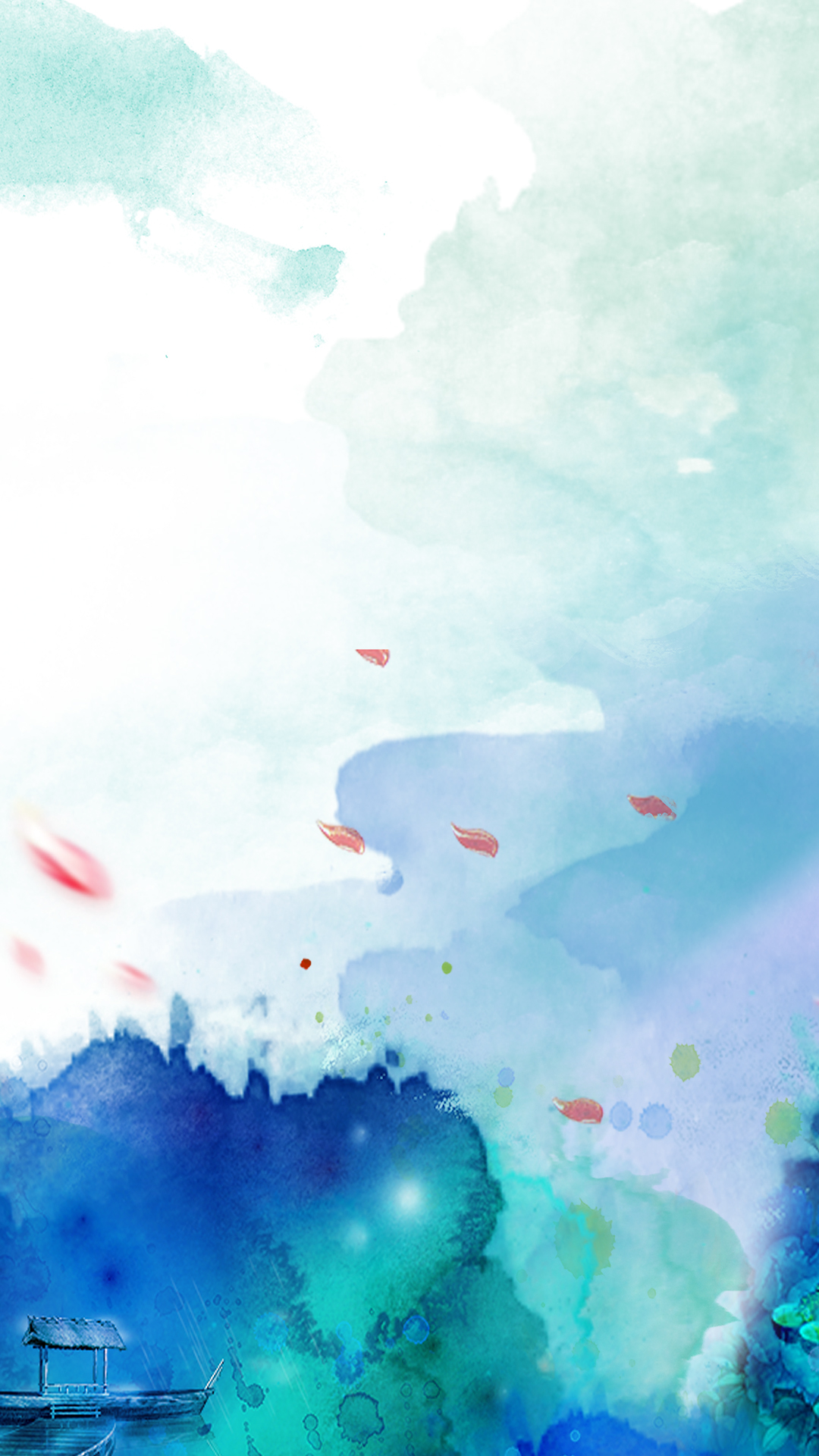 watercolor abstract creative background  dancing  petals  boat background image for free download