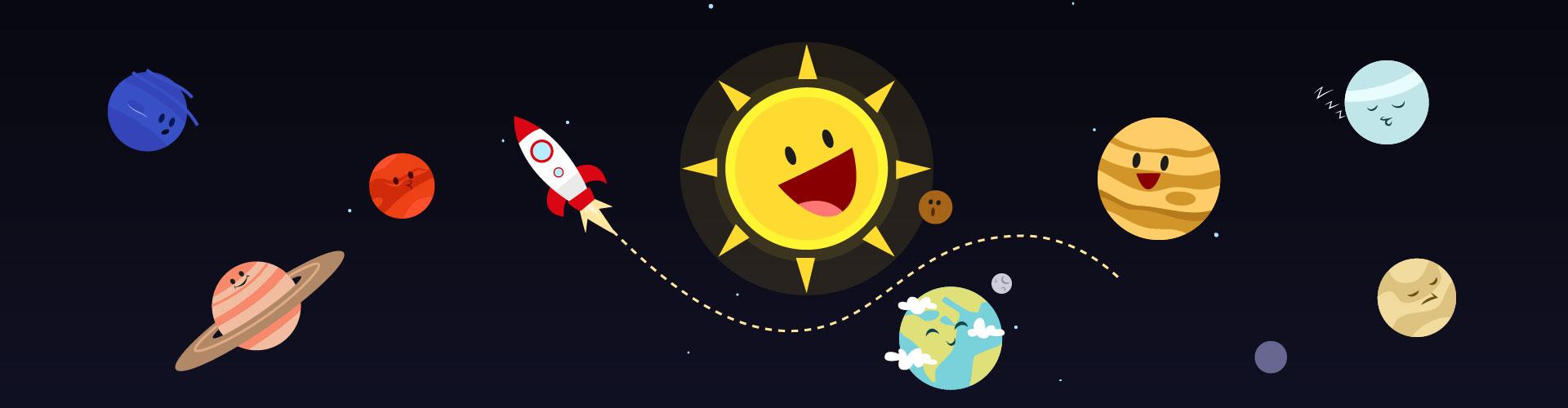cute cartoon solar system planet vector material cartoon